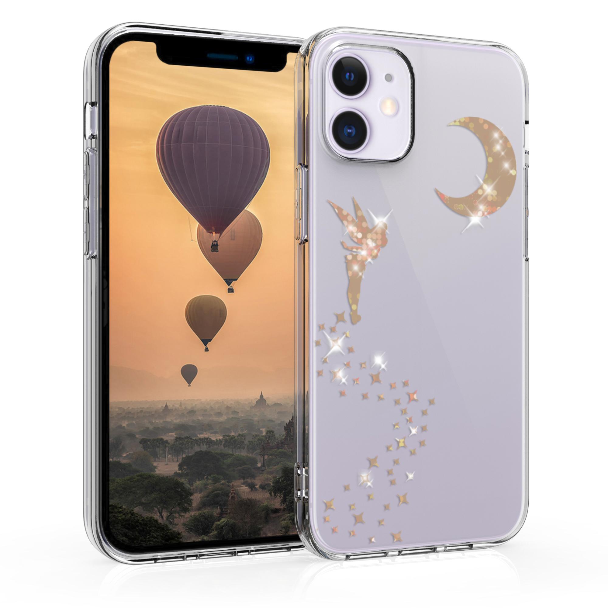 Kvalitní silikonové TPU pouzdro pro Apple iPhone 12 mini - Třpytivé víla Rose Gold | Transparent