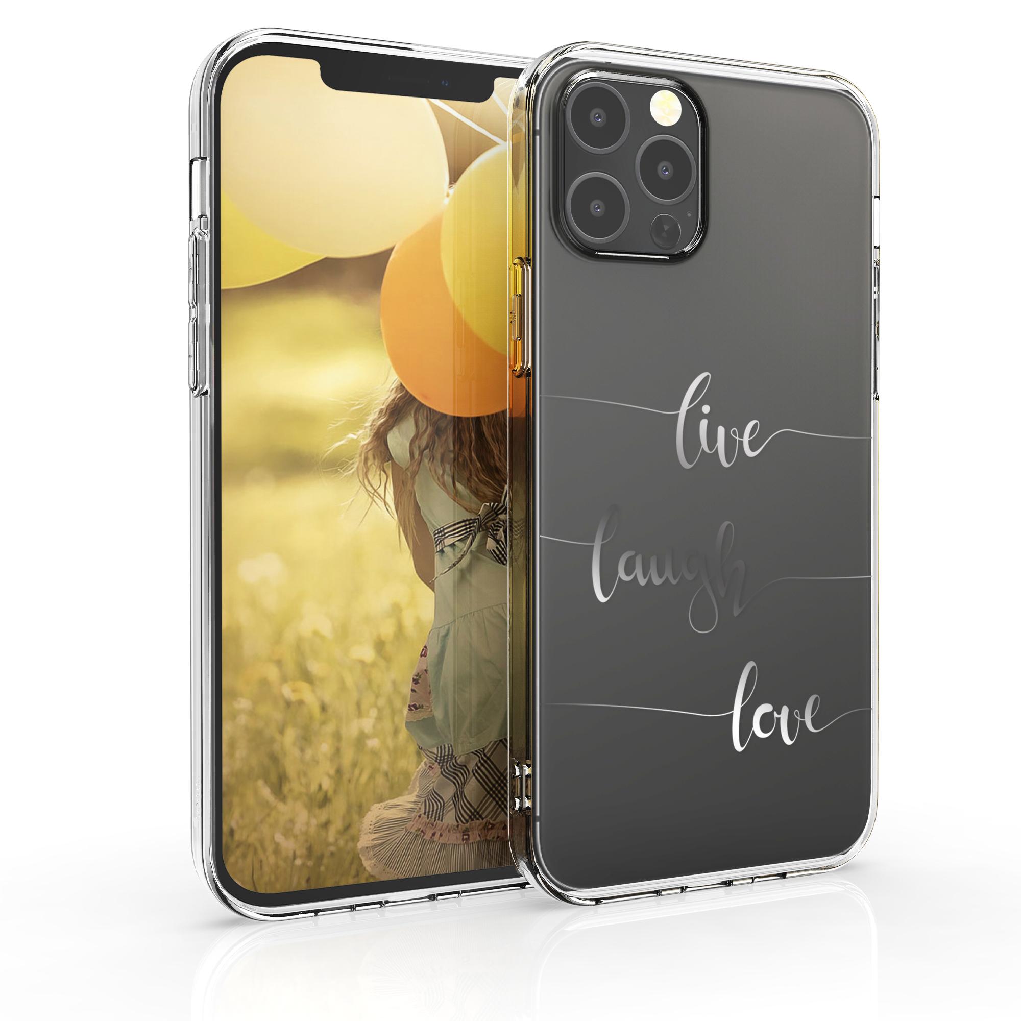 Kvalitní silikonové TPU pouzdro pro Apple iPhone 12 / 12 Pro - Žít, smích, láska Silver | Transparent