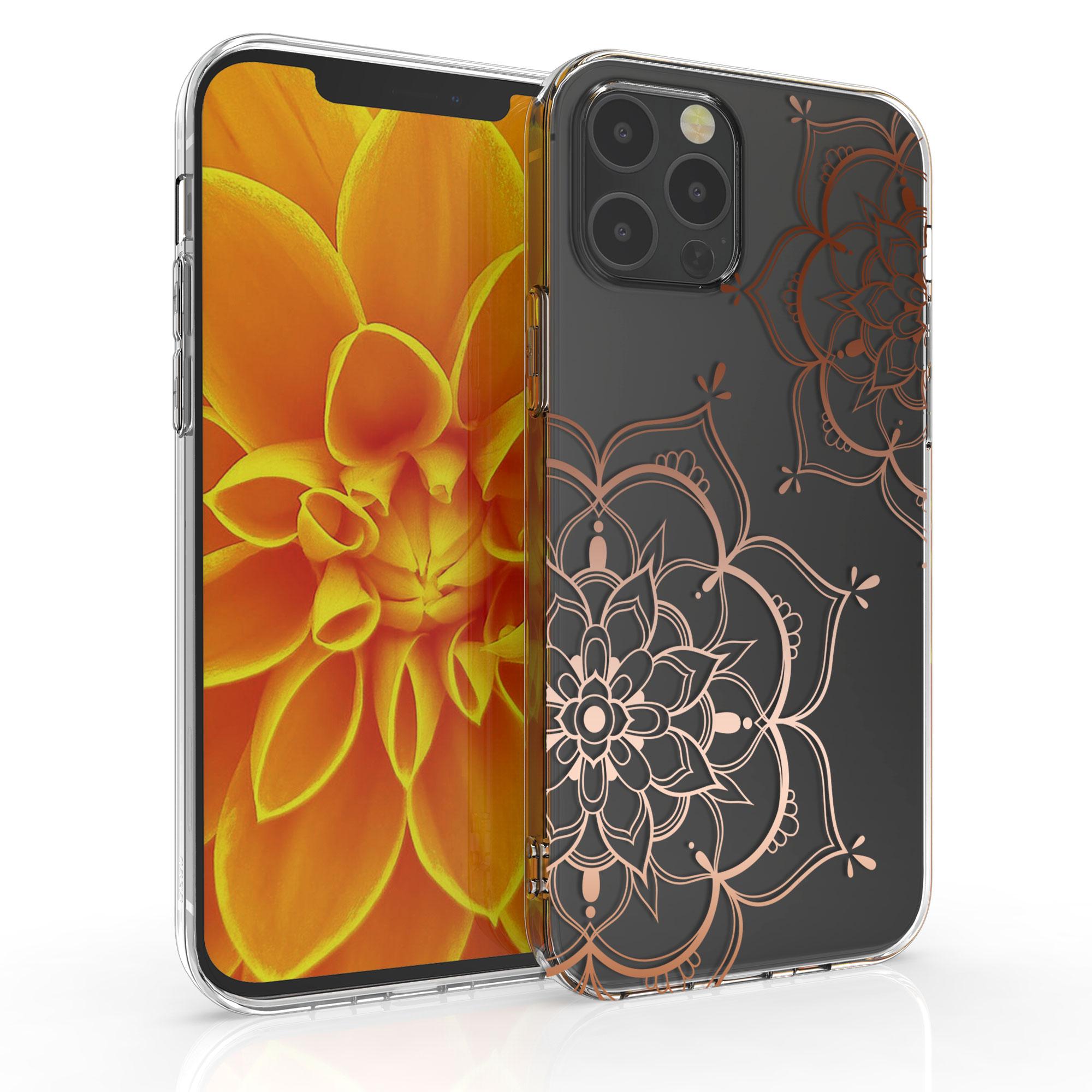 Kvalitní silikonové TPU pouzdro pro Apple iPhone 12 / 12 Pro - Flower Twins Rose Gold | Transparent
