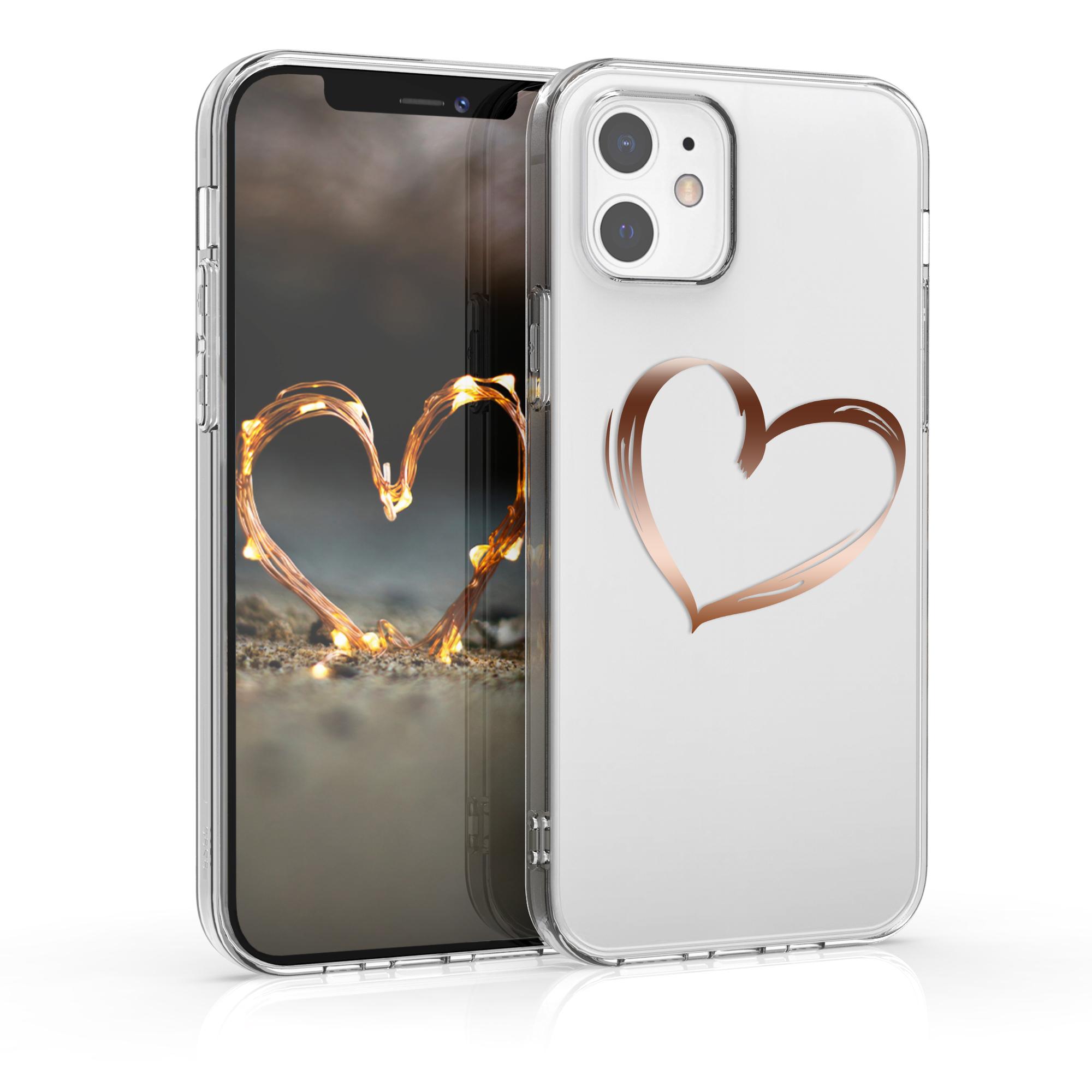 Kvalitní silikonové TPU pouzdro pro Apple iPhone 12 / 12 Pro - Brushed Heart Rose Gold | Transparent