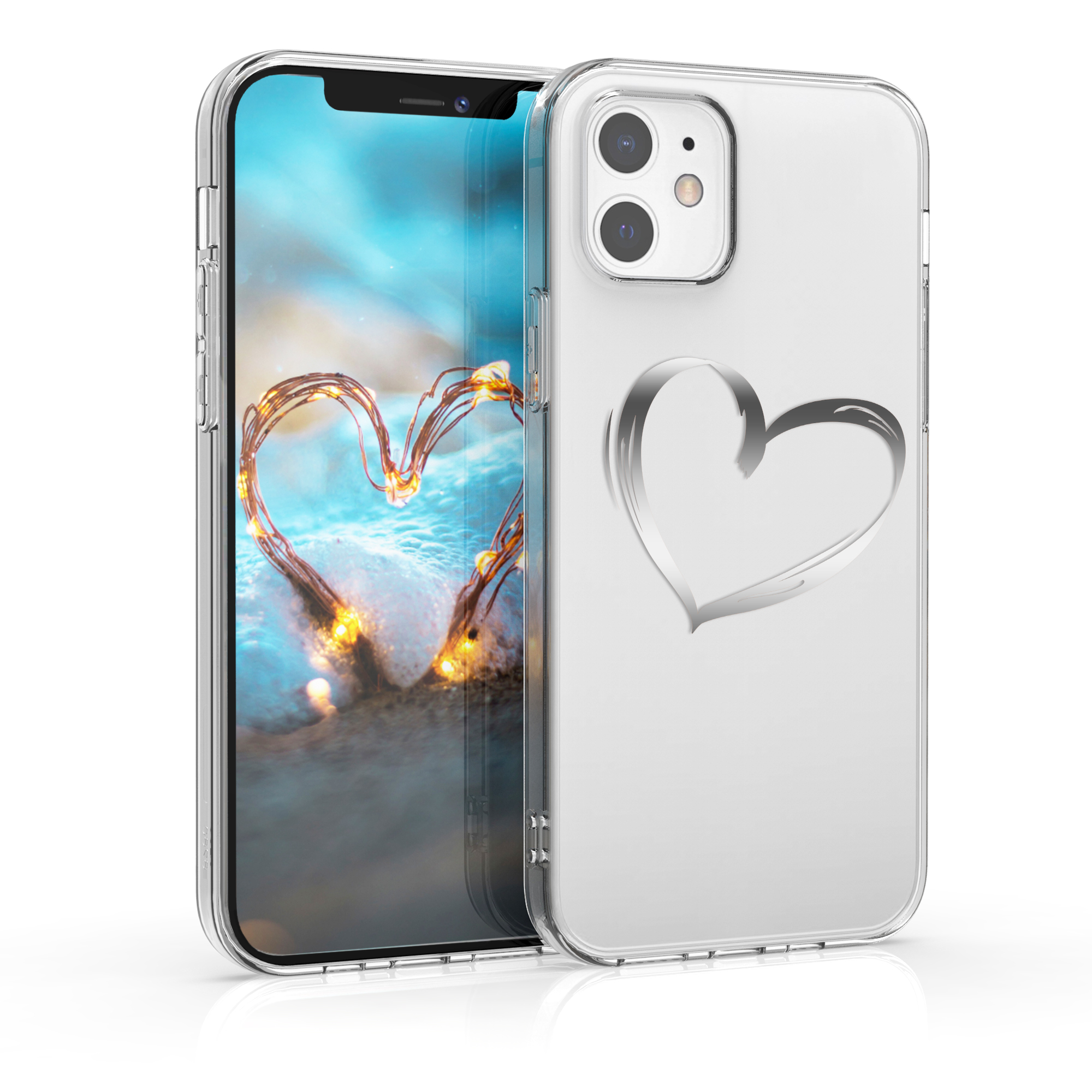 Kvalitní silikonové TPU pouzdro pro Apple iPhone 12 / 12 Pro - Brushed Heart Silver | Transparent