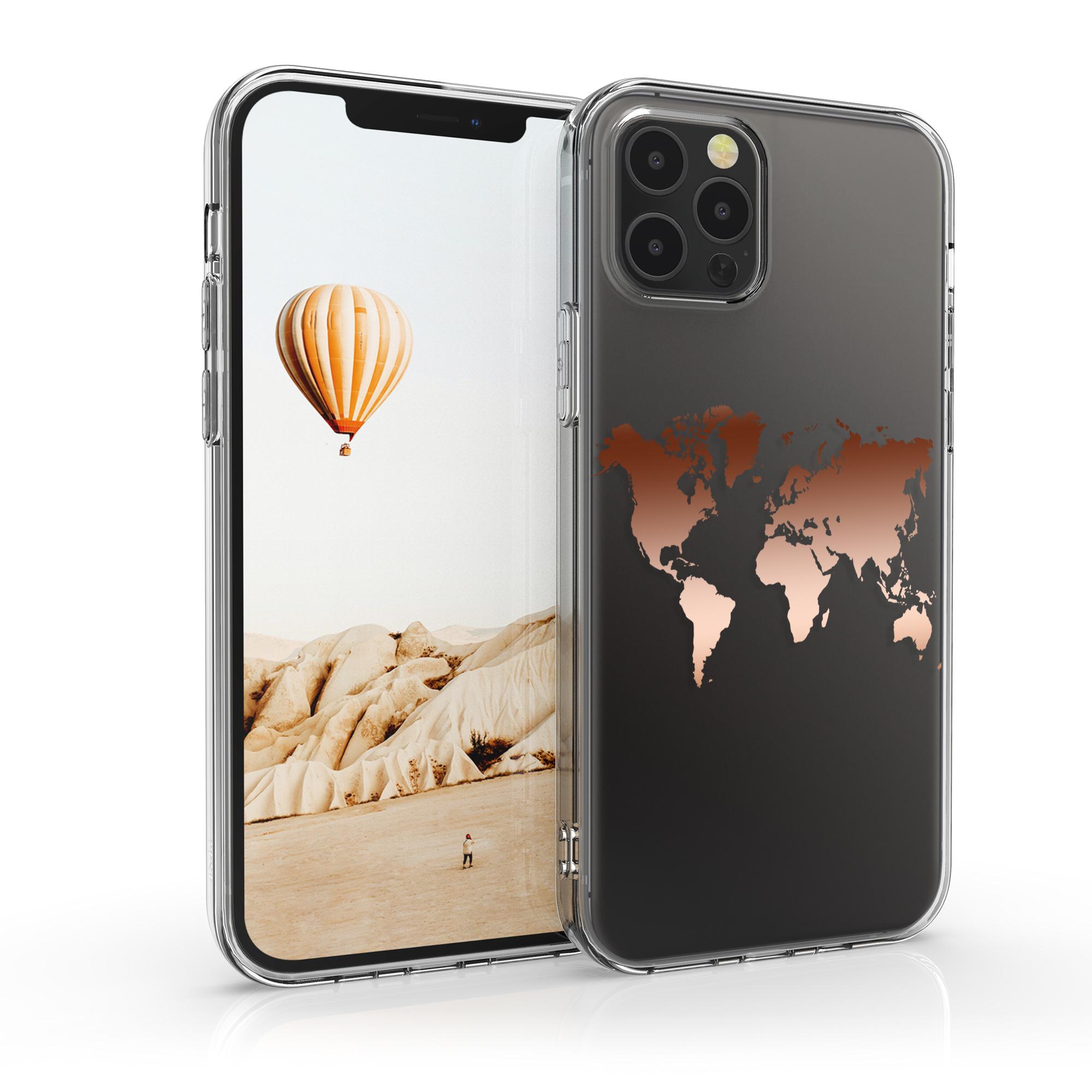 Kvalitní silikonové TPU pouzdro pro Apple iPhone 12 Pro Max - Travel Outline Rose Gold | Transparent