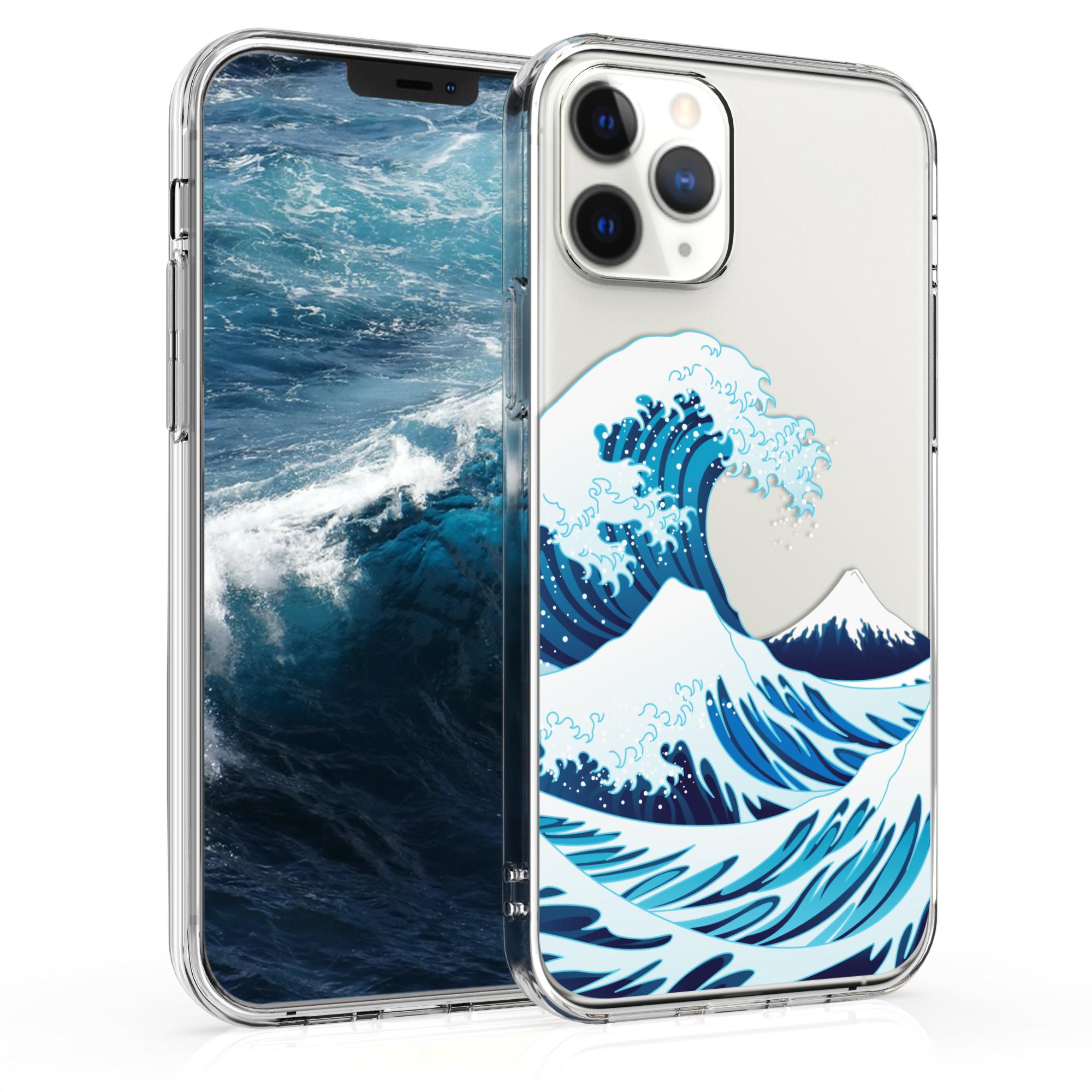 Kvalitní silikonové TPU pouzdro pro Apple iPhone 12 / 12 Pro - Japenese Wave Modrá | Bílá | Průhledná