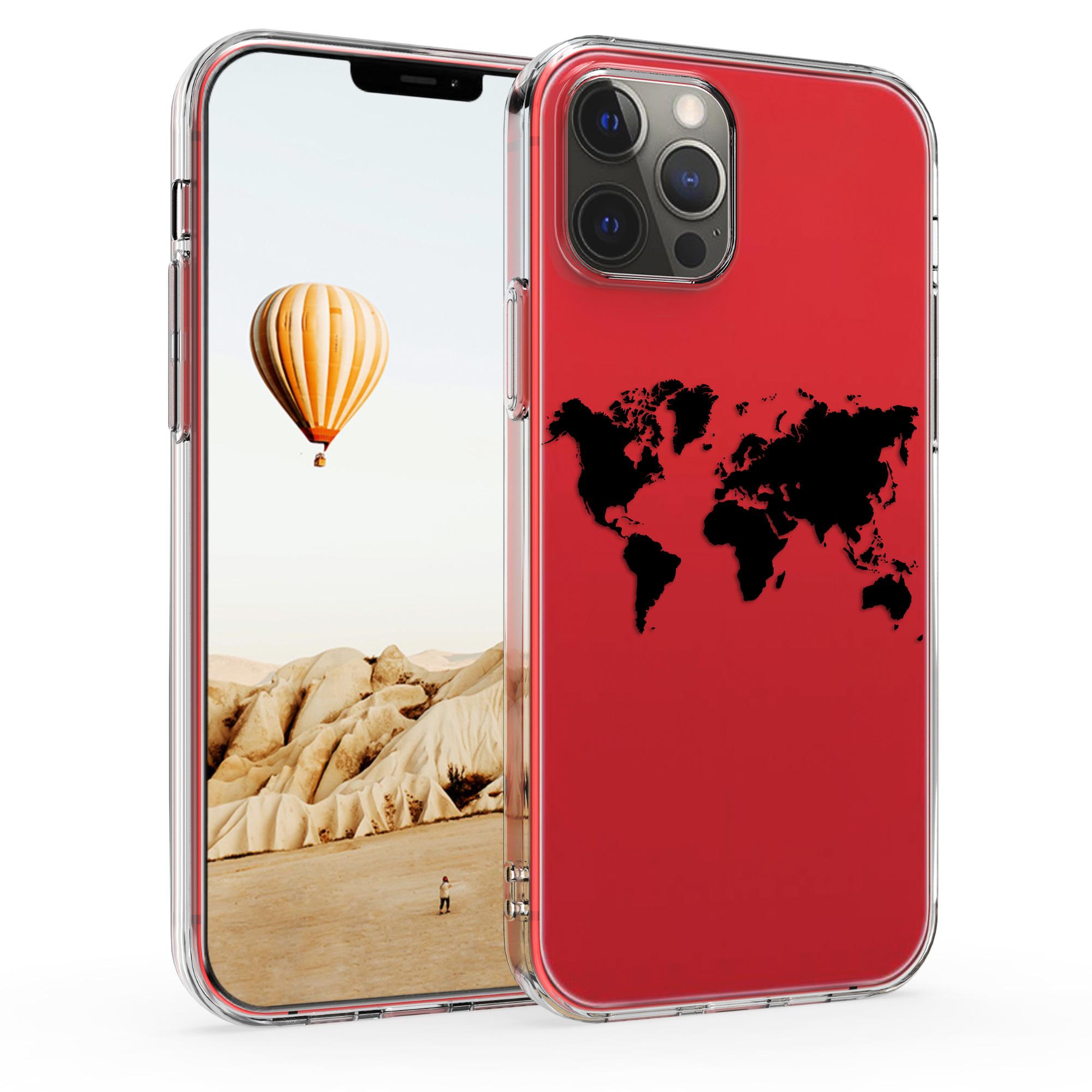 Kvalitní silikonové TPU pouzdro pro Apple iPhone 12 Pro Max - Travel Outline Black | Transparent