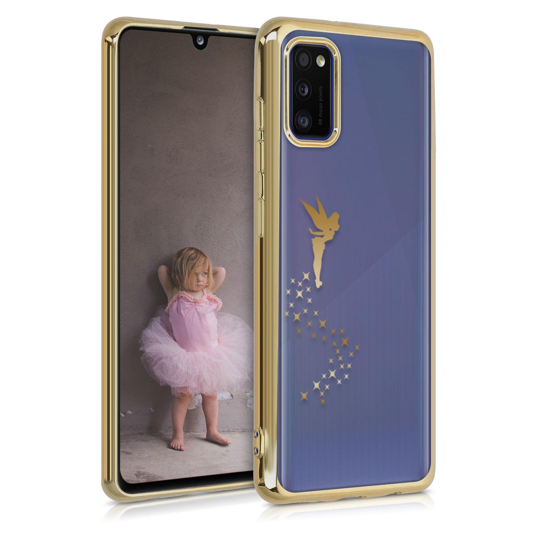 Kvalitní silikonové TPU pouzdro pro Samsung A41 - Víla Gold / transparentní