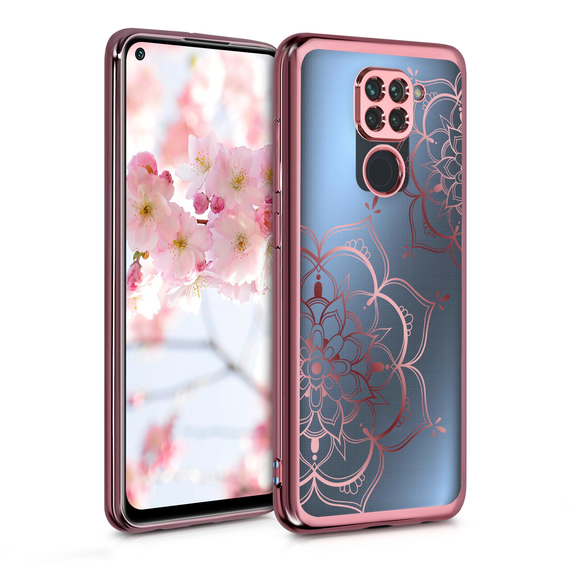 Kvalitní silikonové TPU pouzdro | obal pro Xiaomi Redmi Note 9 - květina Twins starorůžový růžovýgold / starorůžový růžovýgold / transparentní