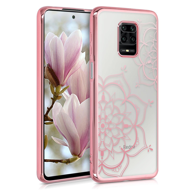 Kvalitní silikonové TPU pouzdro | obal pro Xiaomi Redmi Note 9S | 9 Pro | 9 - květina Twins starorůžový růžovýgold / starorůžový růžovýgold / transparentní