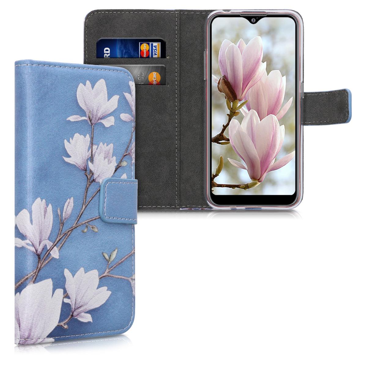 Kožené pouzdro pro Samsung A01 - Magnolie Taupe / bílá / modré šedé
