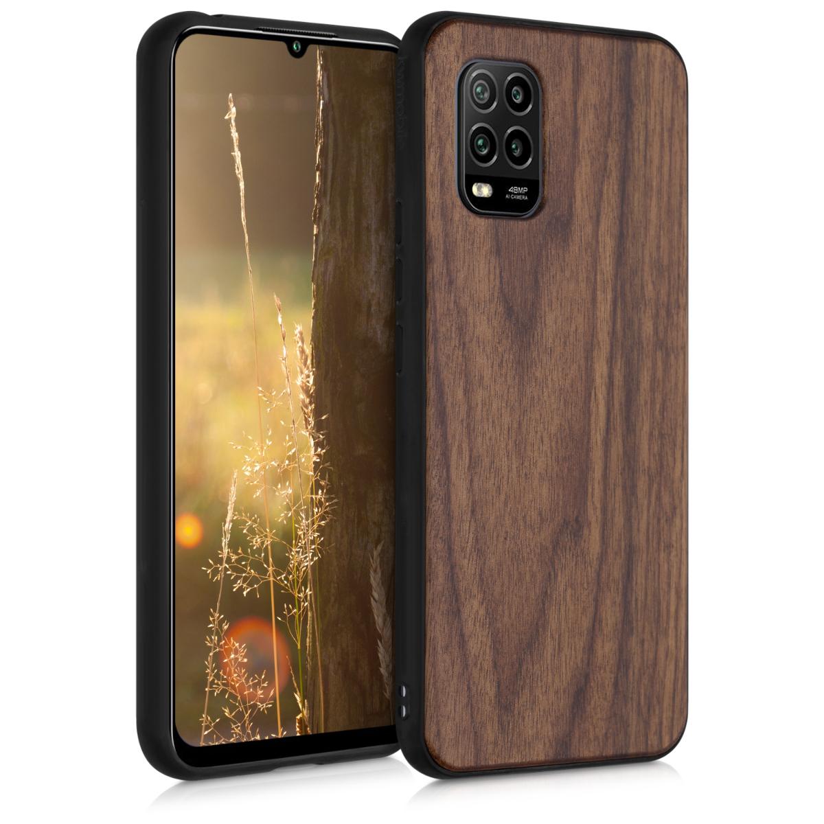 Hnědé dřevěné pouzdro / obal s TPU ochranným okrajem pro Xiaomi Mi 10 Lite