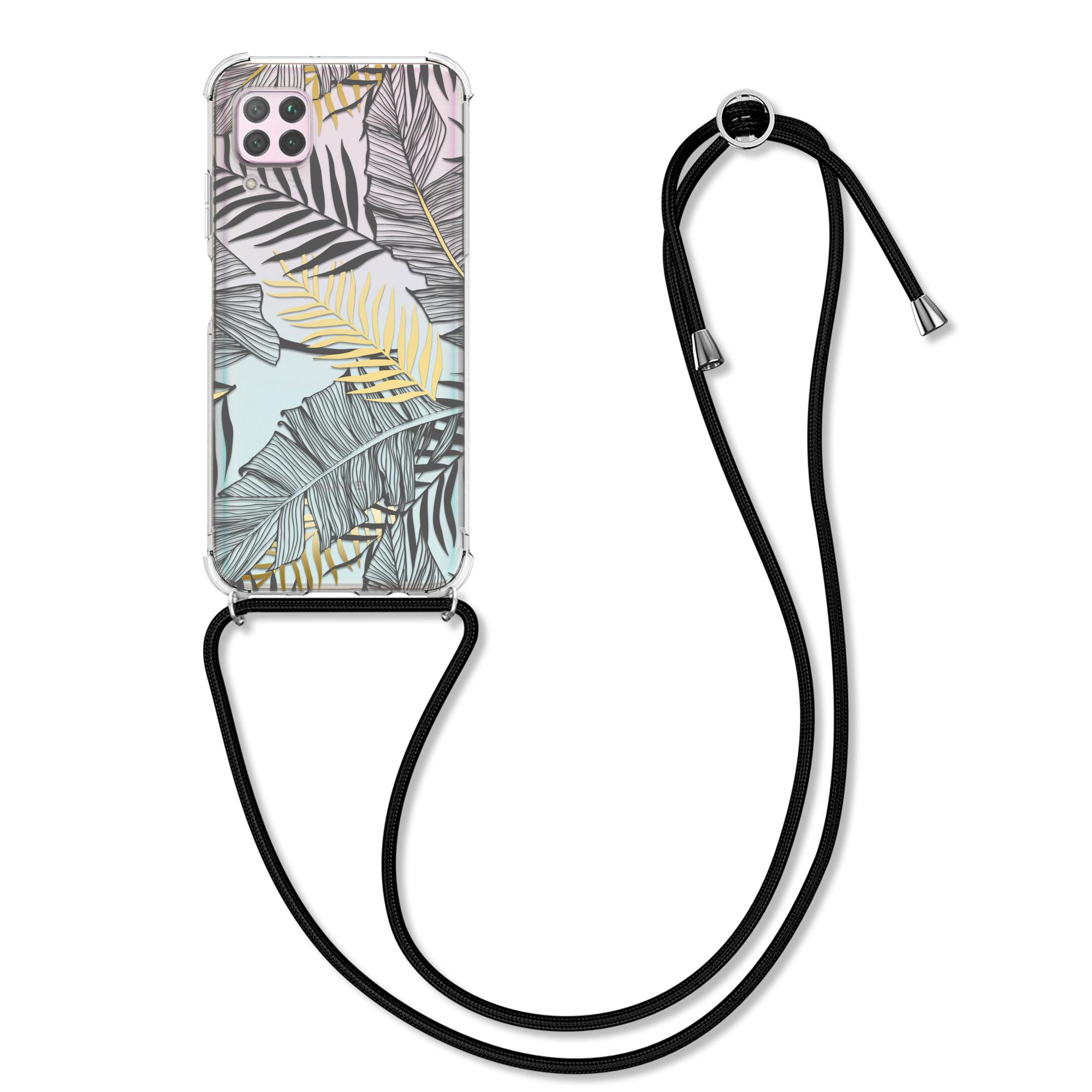 Silikonové pouzdro / obal na krk pro Huawei P40 Lite s motivem listů palmy