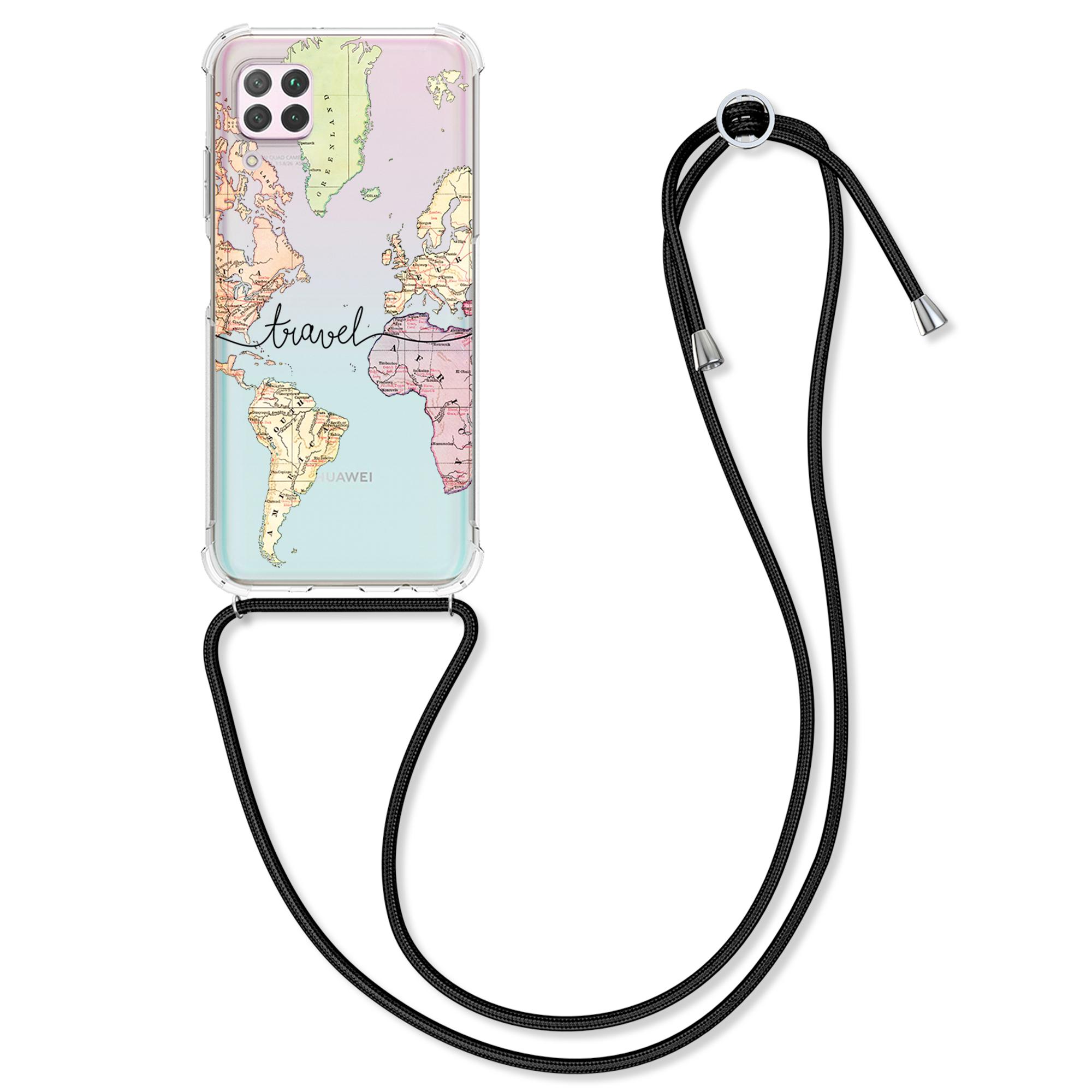 AKCE! Silikonové pouzdro / obal na krk pro Huawei P40 Lite s motivem mapy světa