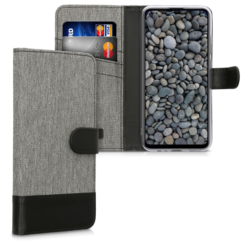 Šedé textilní jako peněženka pouzdro / obal pro Huawei P40 Lite E