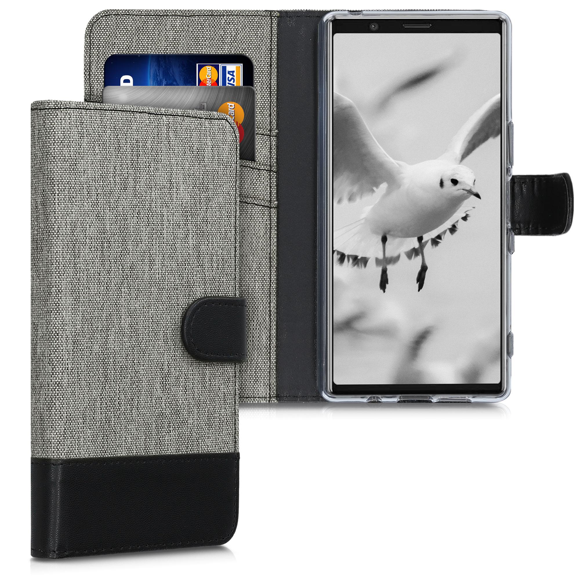 Textilní látkové pouzdro | obal pro Sony Xperia 5 - šedé/ černé