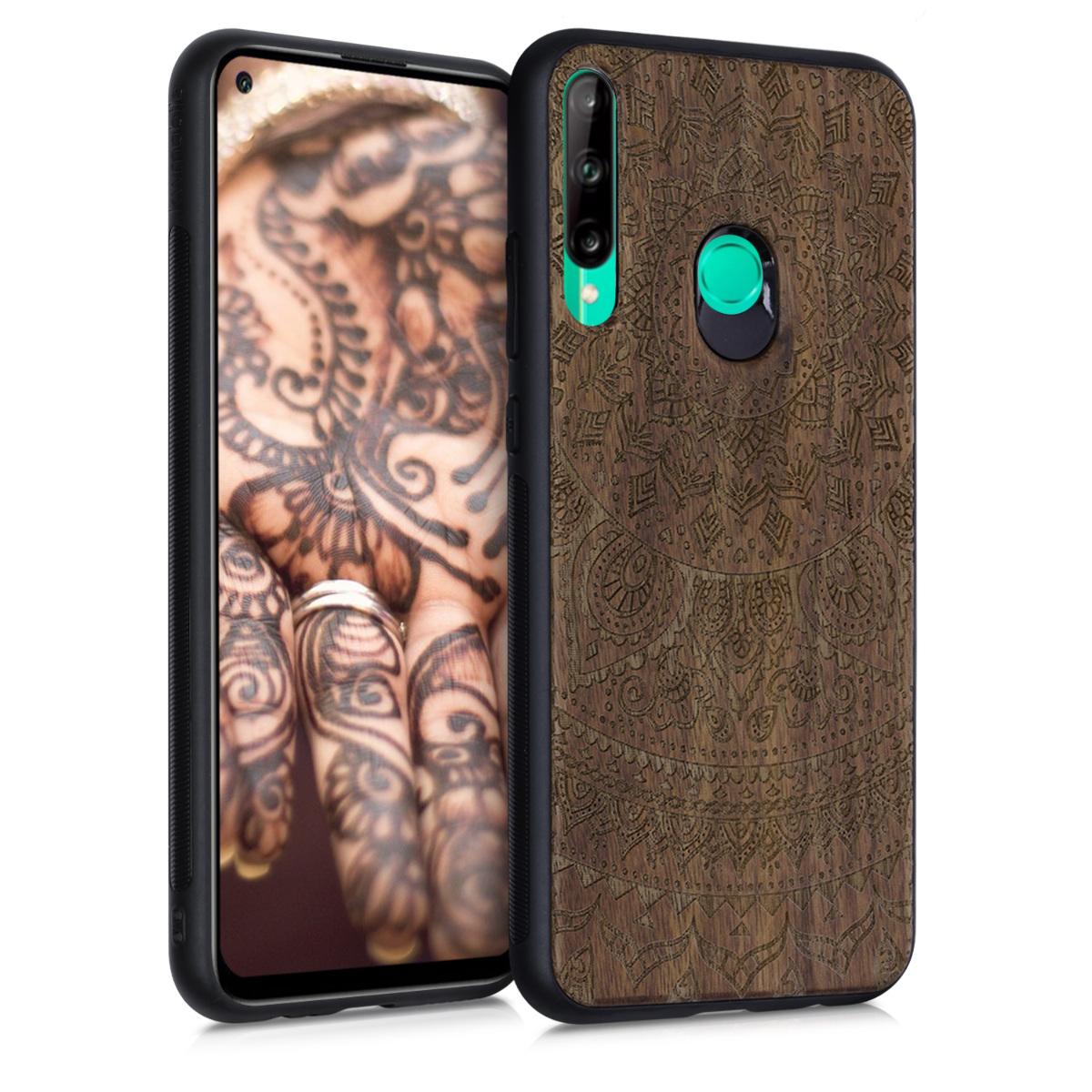 Dřevěné hnědé pouzdro / obal pro Huawei P40 Lite E s motivem indiánské slunce