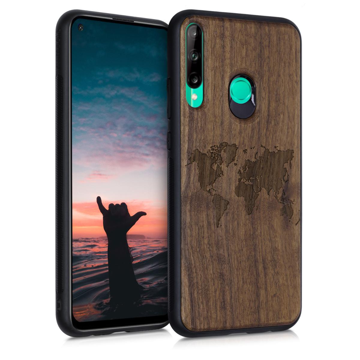 Dřevěné hnědé pouzdro / obal pro Huawei P40 Lite E s motivem mapy světa