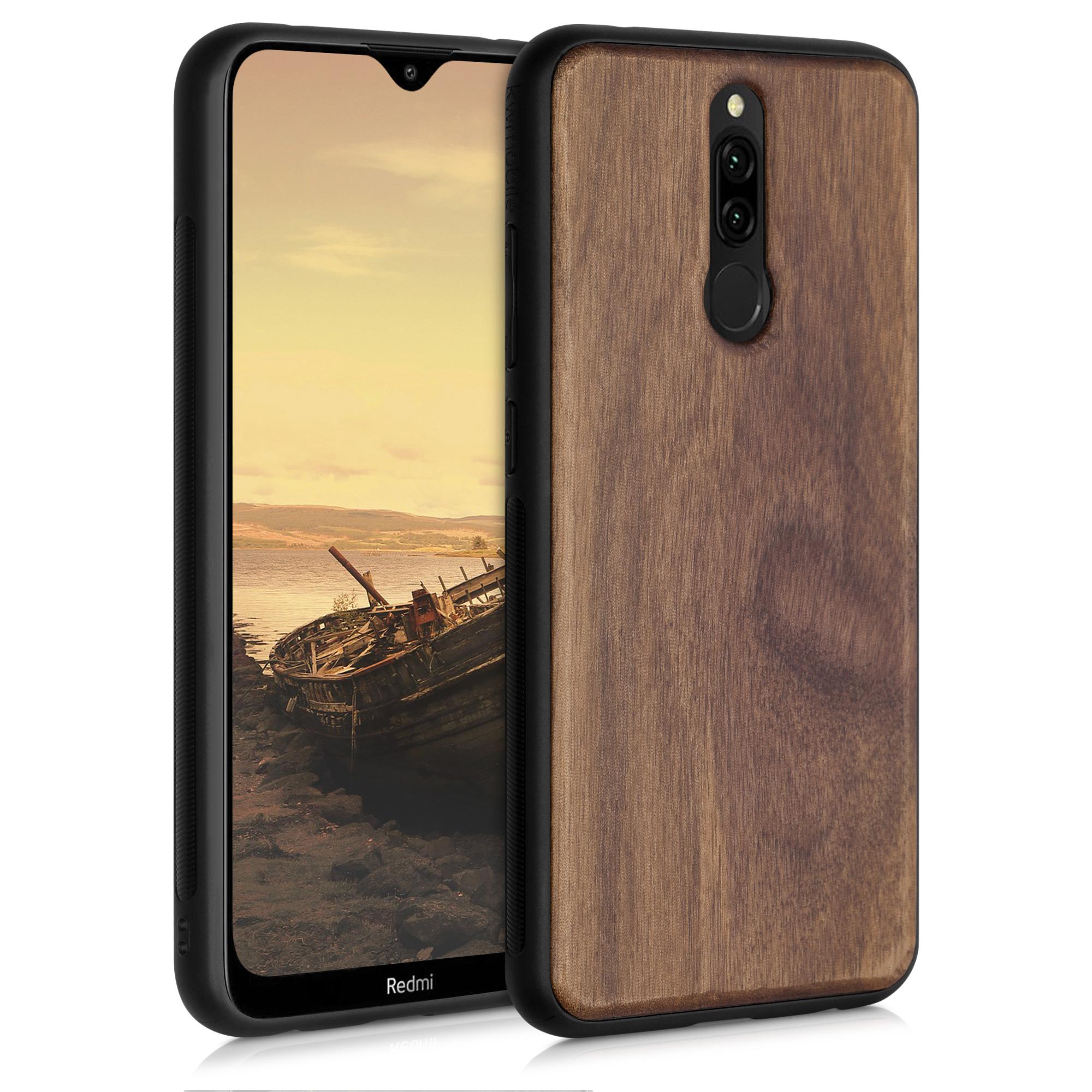 Dřevěné pouzdro | obal pro Xiaomi Redmi 8 - Tmavě hnědá