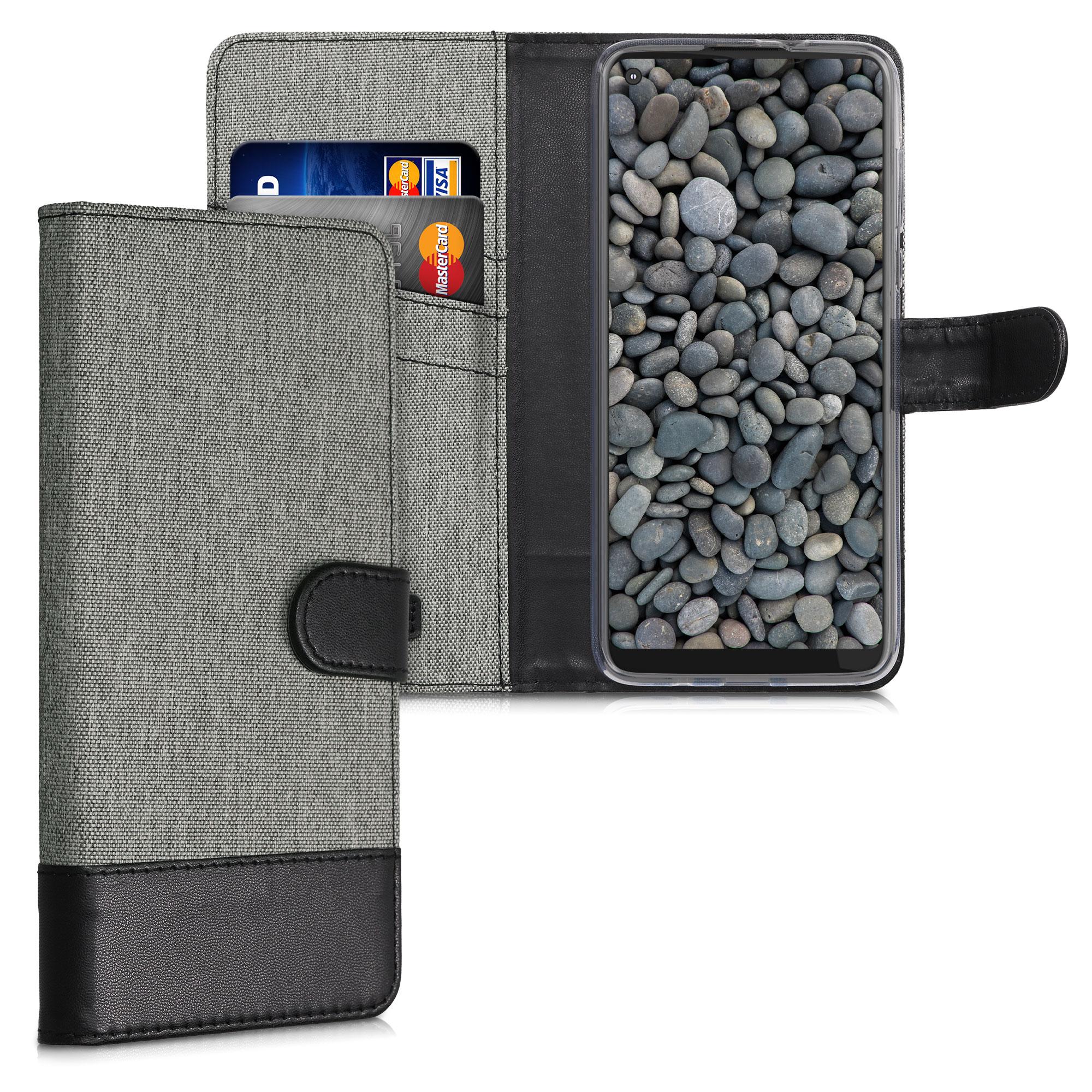 Textilní látkové pouzdro | obal pro Motorola Moto G Fast - Šedá / černá