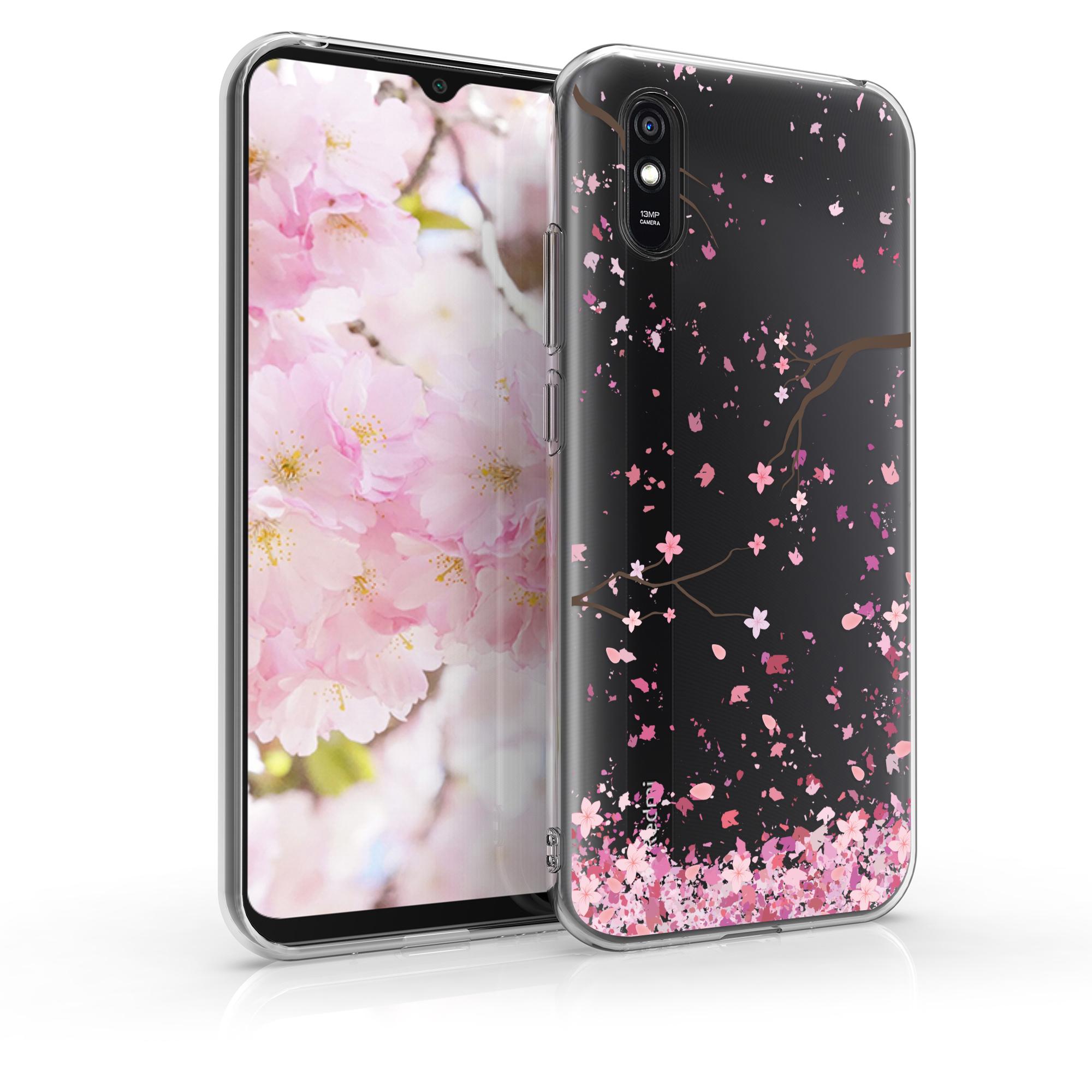 Kvalitní silikonové TPU pouzdro   obal pro Xiaomi Redmi 9A - Cherry Blossoms růžový / tmavě hnědá / transparentní