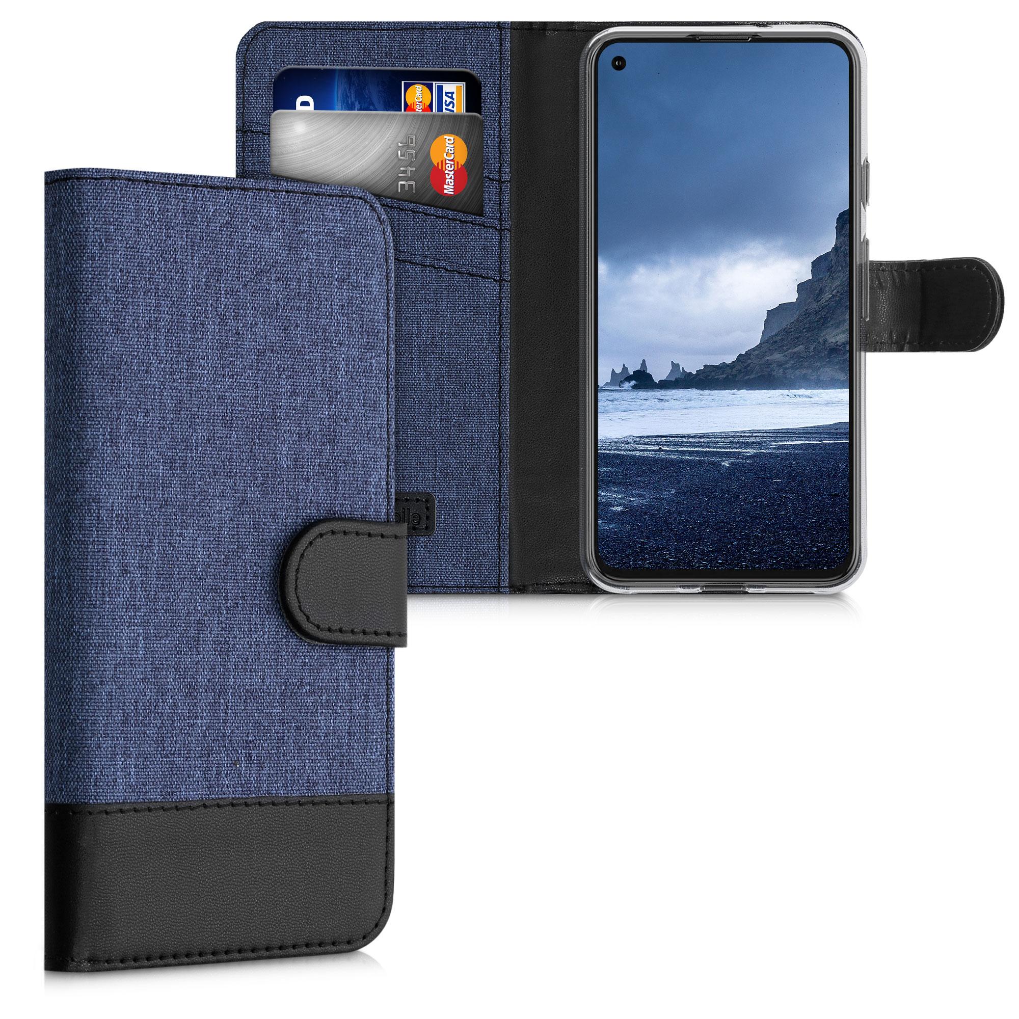 Textilní látkové pouzdro | obal pro Google Pixel 5 - Tmavě modrá / černá
