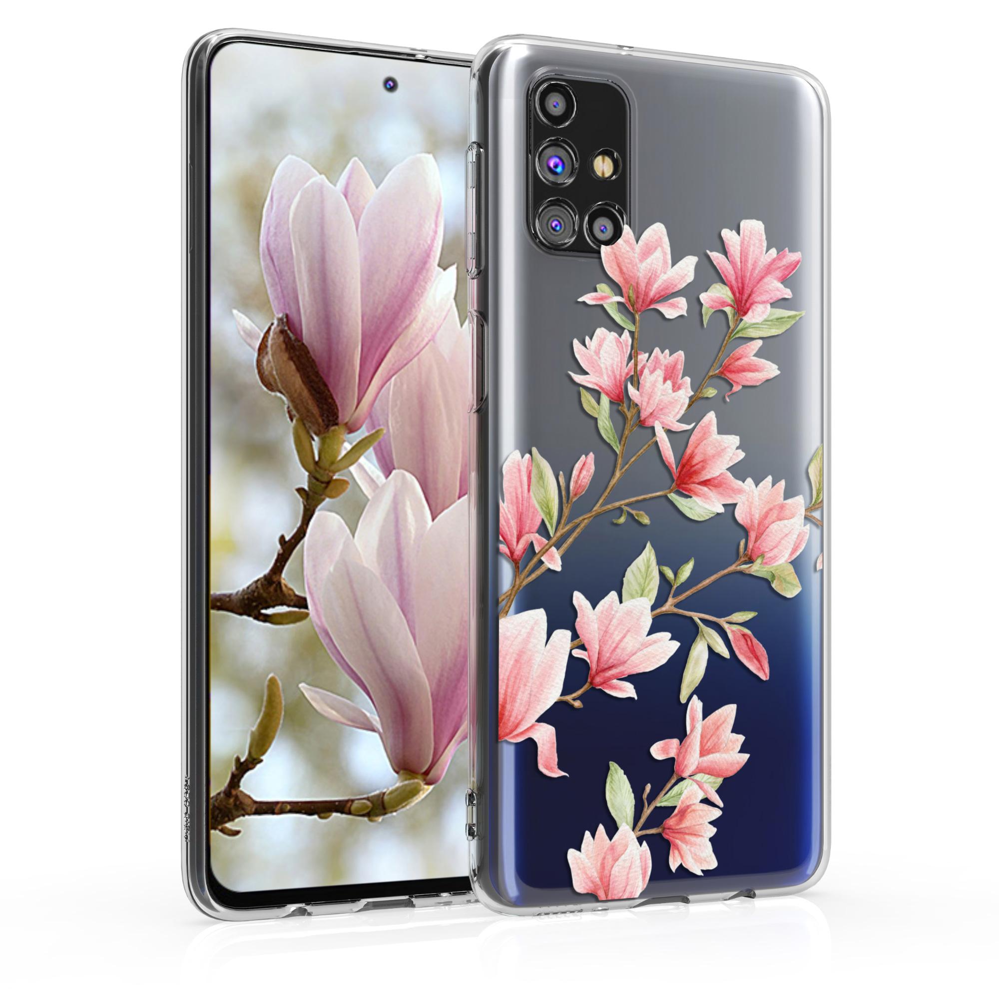 Kvalitní silikonové TPU pouzdro pro Samsung M31s - Magnolie růžové / bílé / transparentní