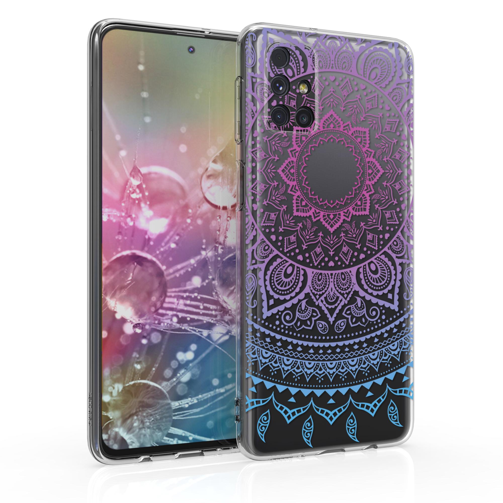Kvalitní silikonové TPU pouzdro pro Samsung M31s - indické slunce modré / tmavě růžová / transparentní