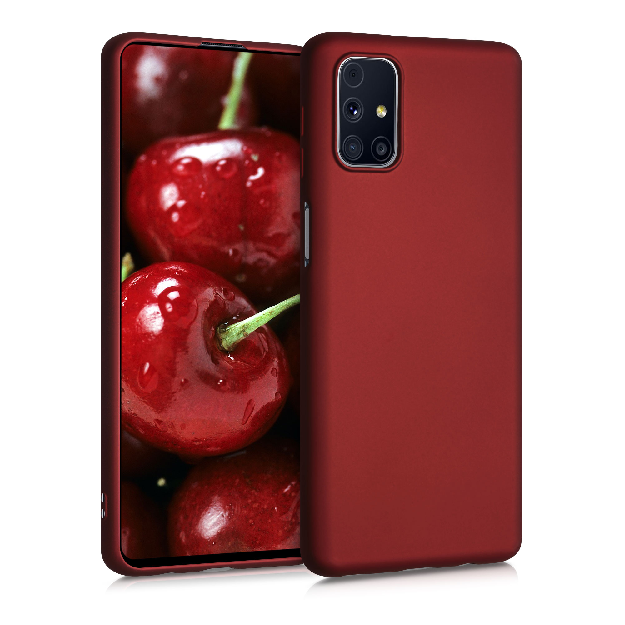 Kvalitní silikonové TPU pouzdro pro Samsung M31s - metalické tmavě červená