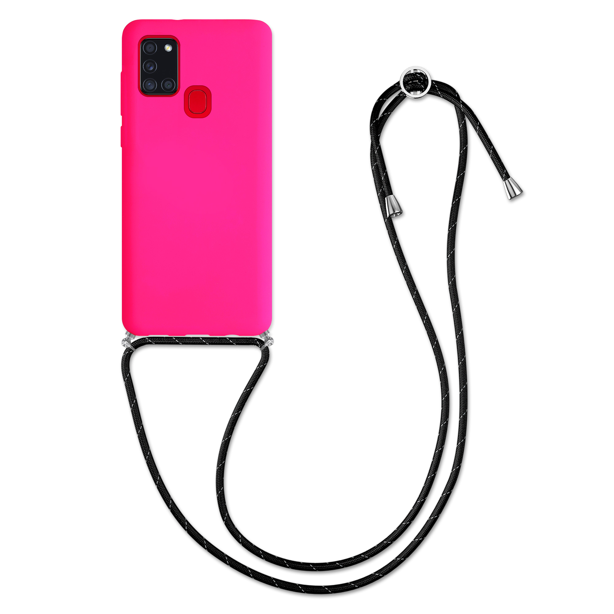 Kvalitní silikonové TPU pouzdro pro Samsung A21s - neonově růžové / černé
