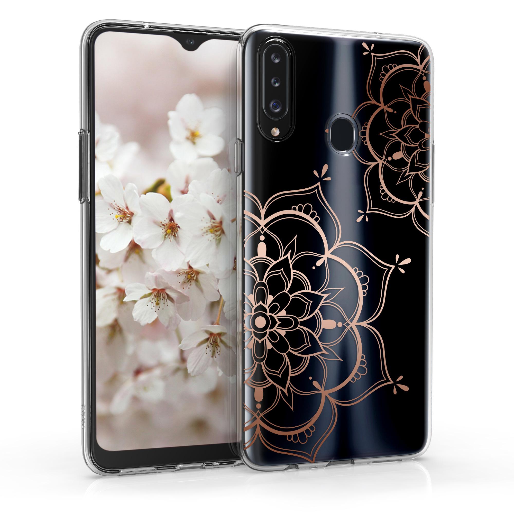 Kvalitní silikonové TPU pouzdro pro Samsung A20s - květiny Twins starorůžové rosegold / transparentní