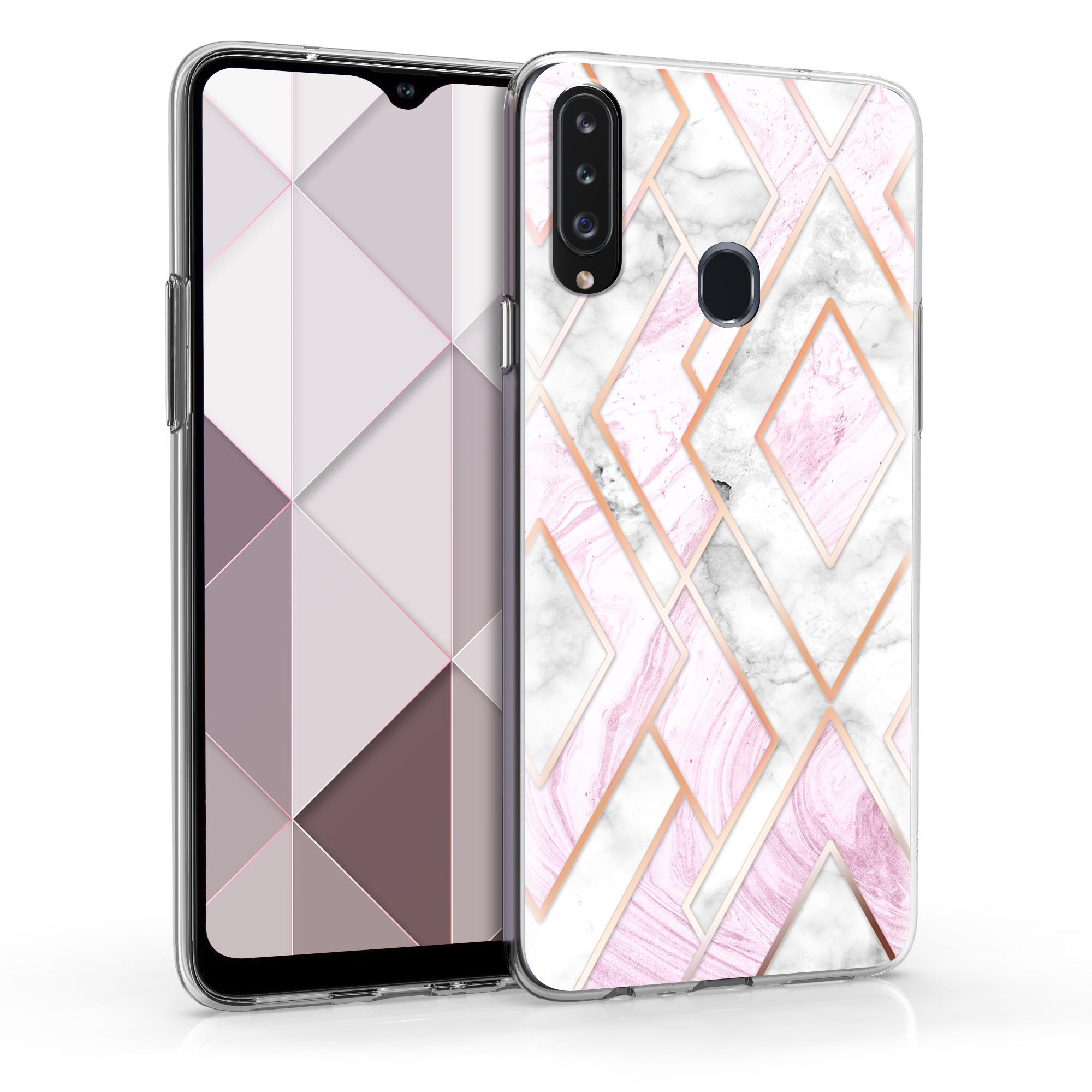 Kvalitní silikonové TPU pouzdro pro Samsung A20s - Glory Mix 2 Rose Gold / White / Pink Dusty