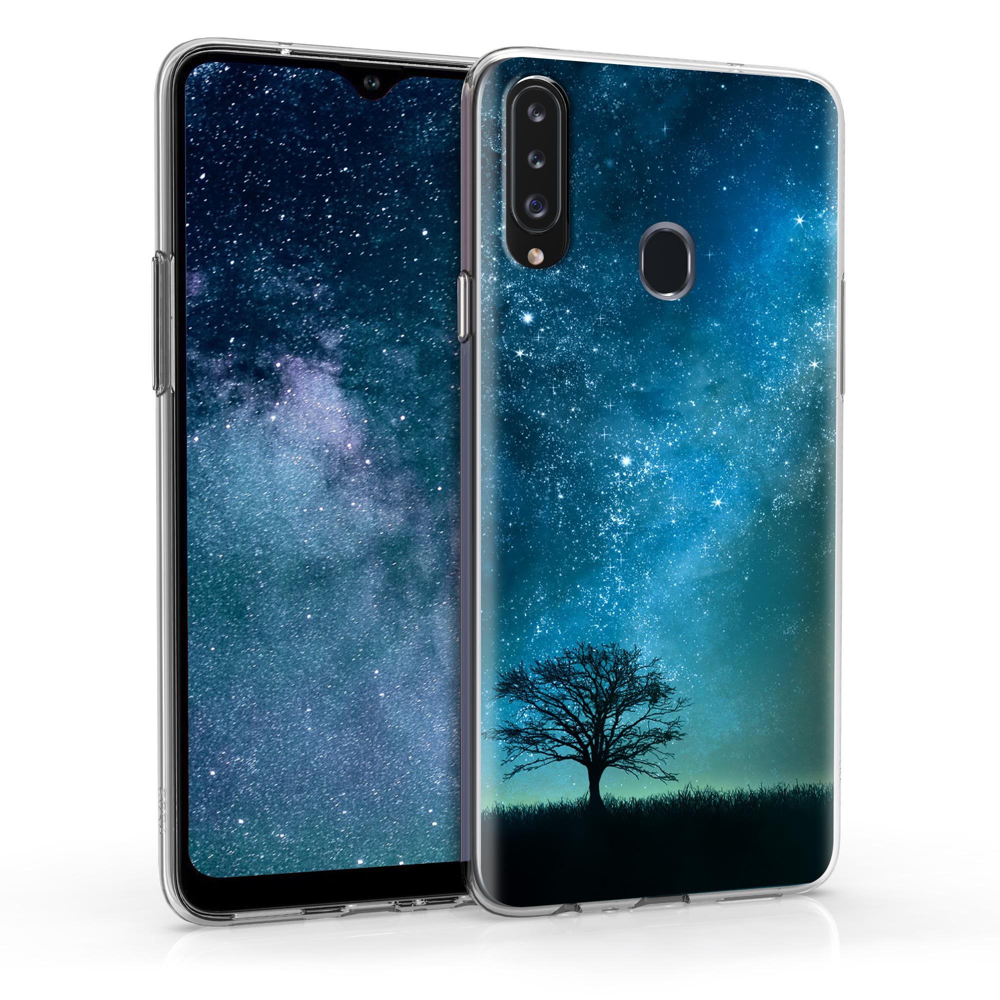 Kvalitní silikonové TPU pouzdro pro Samsung A20s - Cosmic Nature modrá / šedá / černá