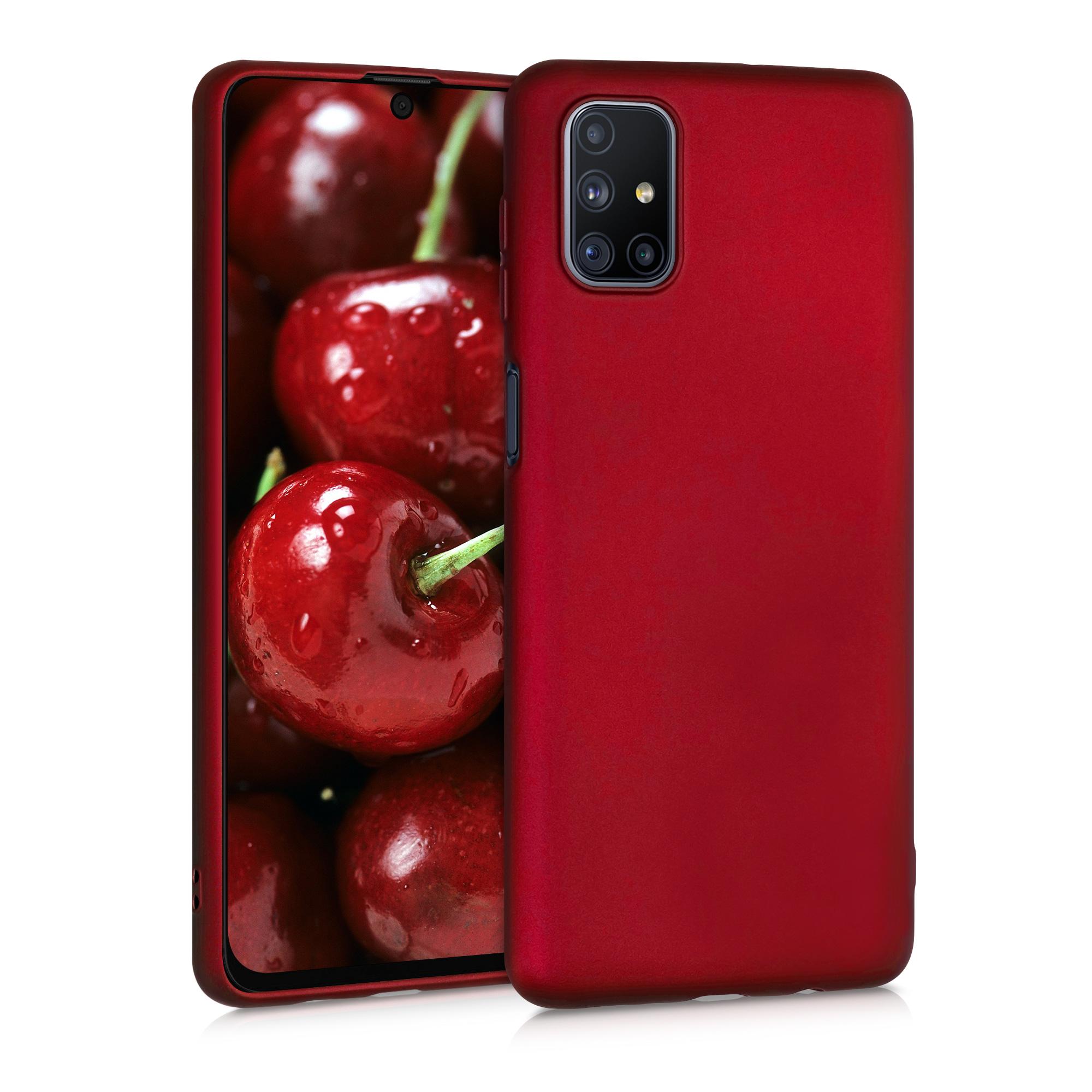 Kvalitní silikonové TPU pouzdro pro Samsung M51 - Metalíza Tmavě červená