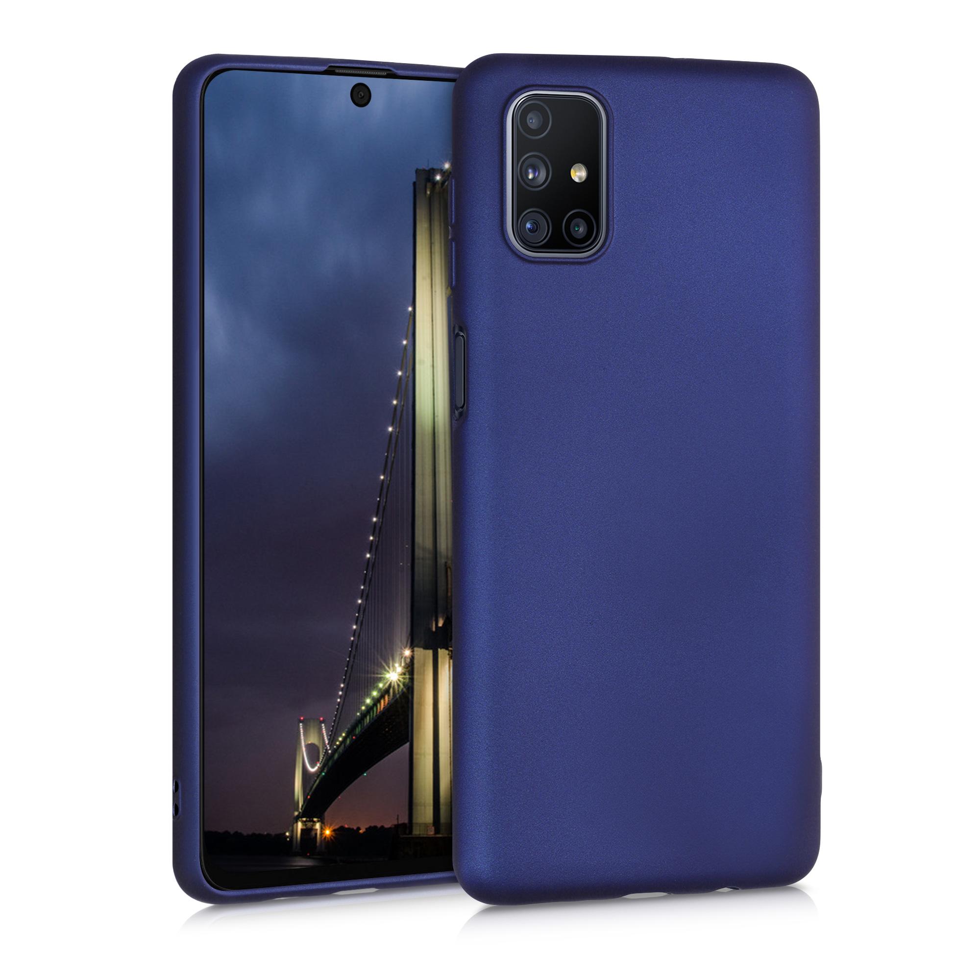 Kvalitní silikonové TPU pouzdro pro Samsung M51 - modrá metalíza