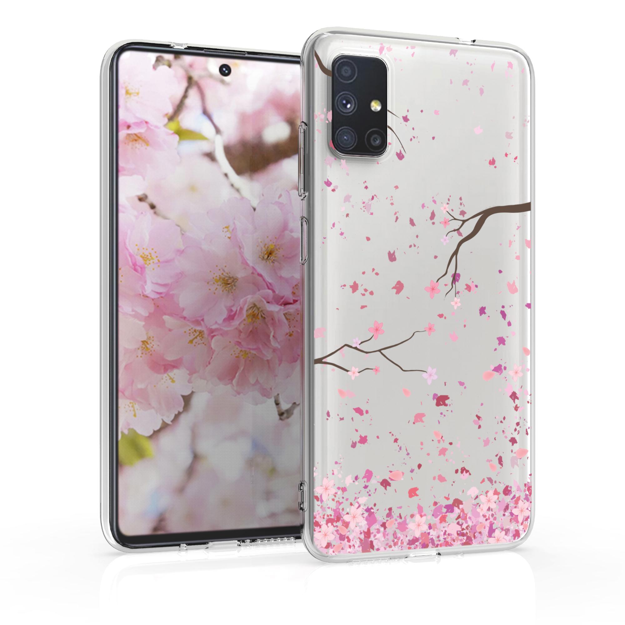 Kvalitní silikonové TPU pouzdro pro Samsung M51 - Cherry Blossoms růžové / tmavě hnědá / transparentní
