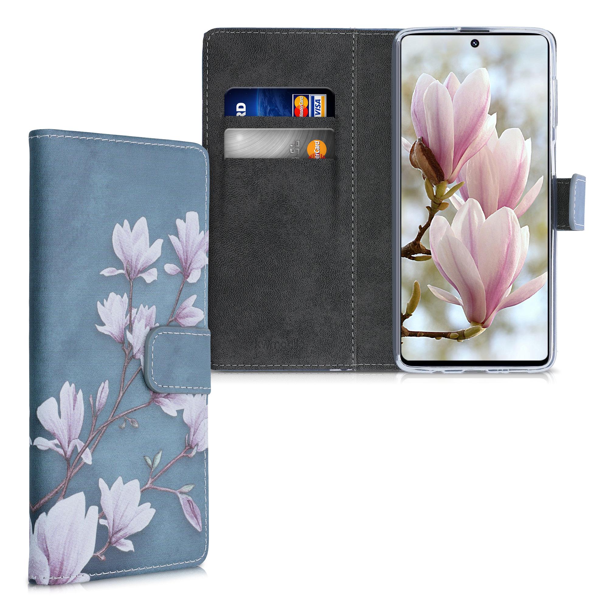 Kožené pouzdro pro Samsung M51 - Magnolie Taupe / bílá / modré šedé