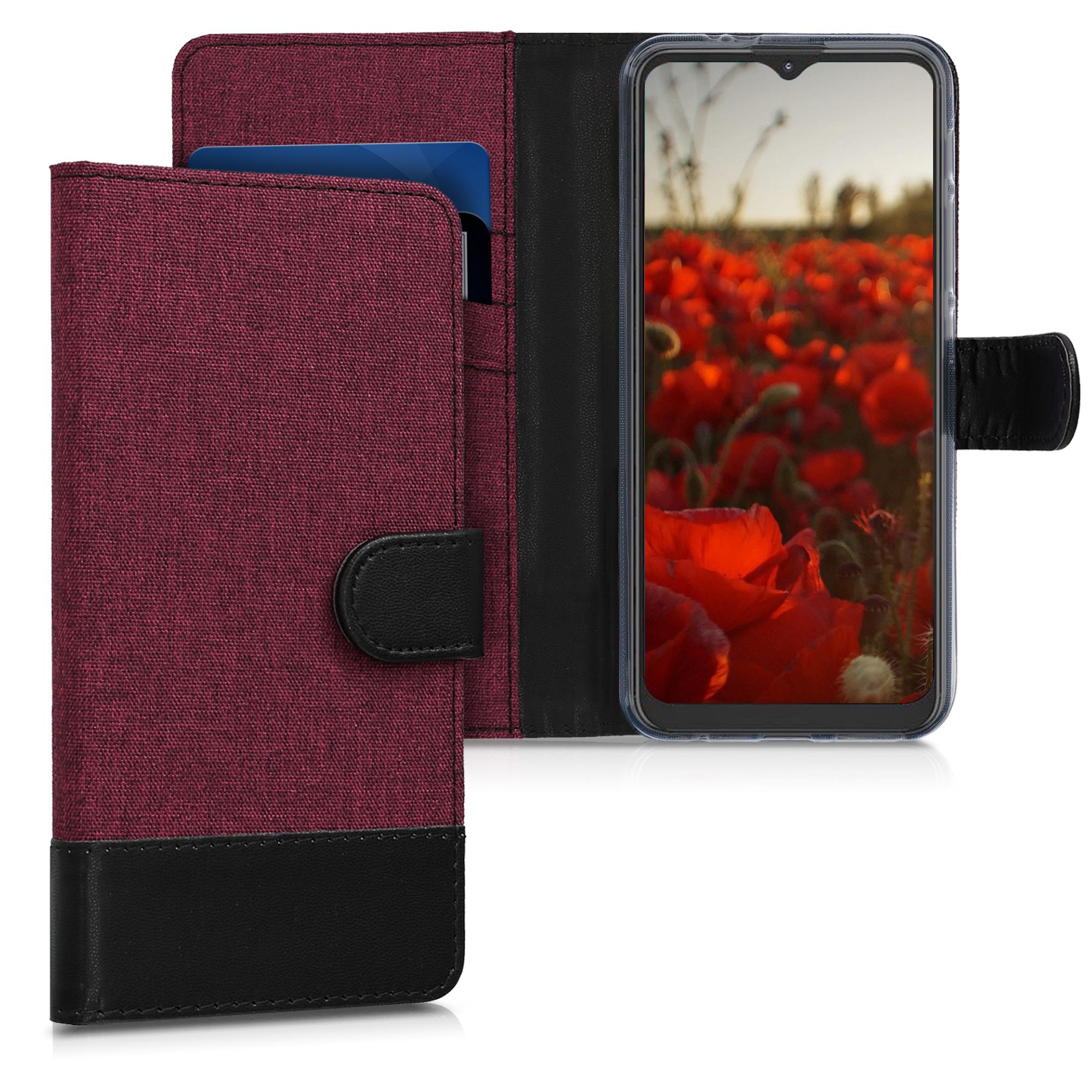 Textilní látkové pouzdro   obal pro Motorola Moto G9 Play / Moto E7 Plus -  Tmavě červená / černá