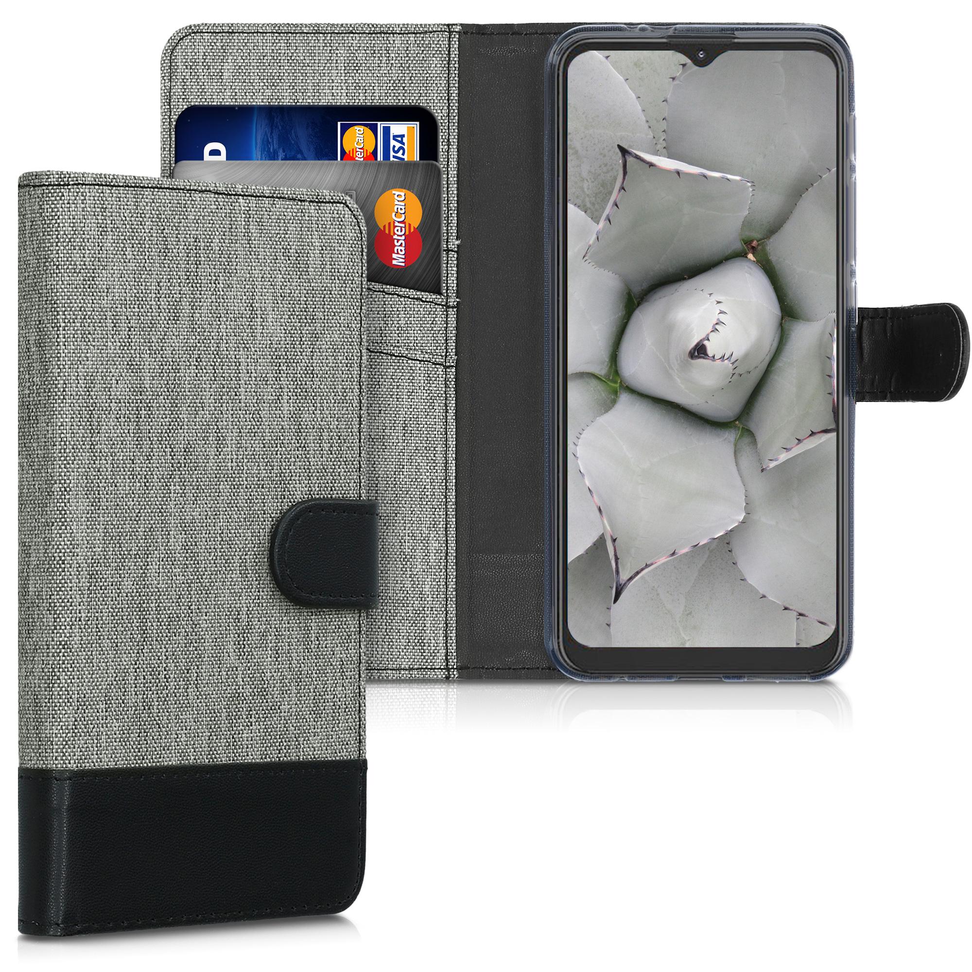 Textilní látkové pouzdro   obal pro Motorola Moto G9 Play / Moto E7 Plus - Šedá / černá