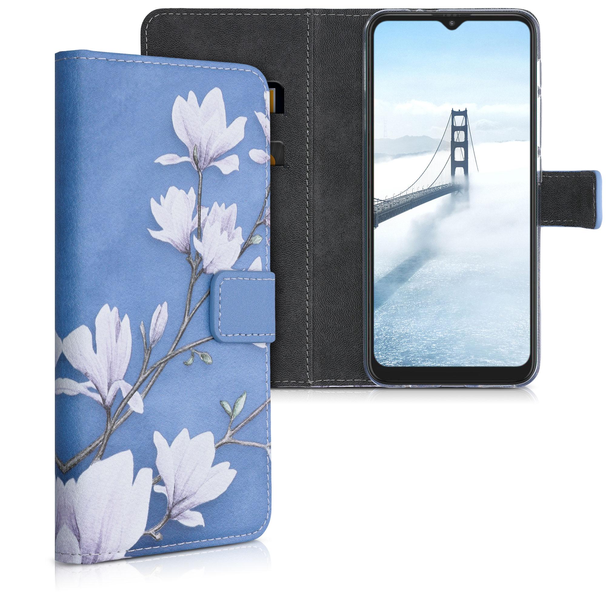 Kožené pouzdro   obal pro Motorola Moto G9 Play / Moto E7 Plus -  Magnolias Taupe / White / Blue Grey