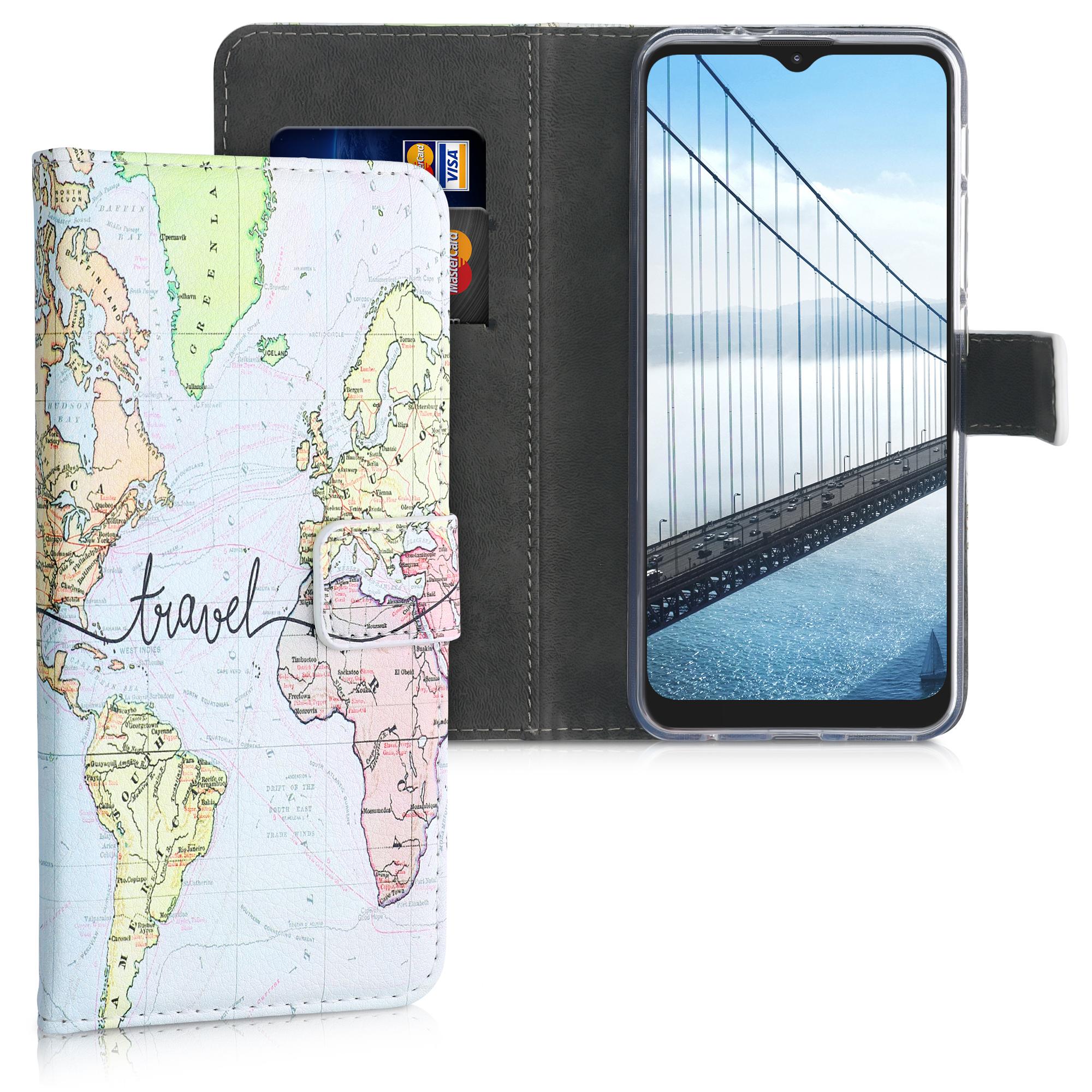 Kožené pouzdro   obal pro Motorola Moto G9 Play / Moto E7 Plus -  Cestovní černá / vícebarevná
