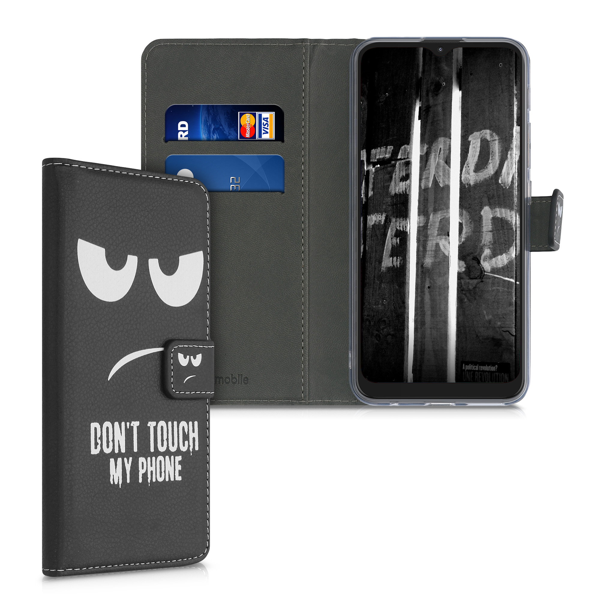 Kožené pouzdro   obal pro Motorola Moto G9 Play / Moto E7 Plus - Nedotýkej se mého telefonu Bílá / Černá