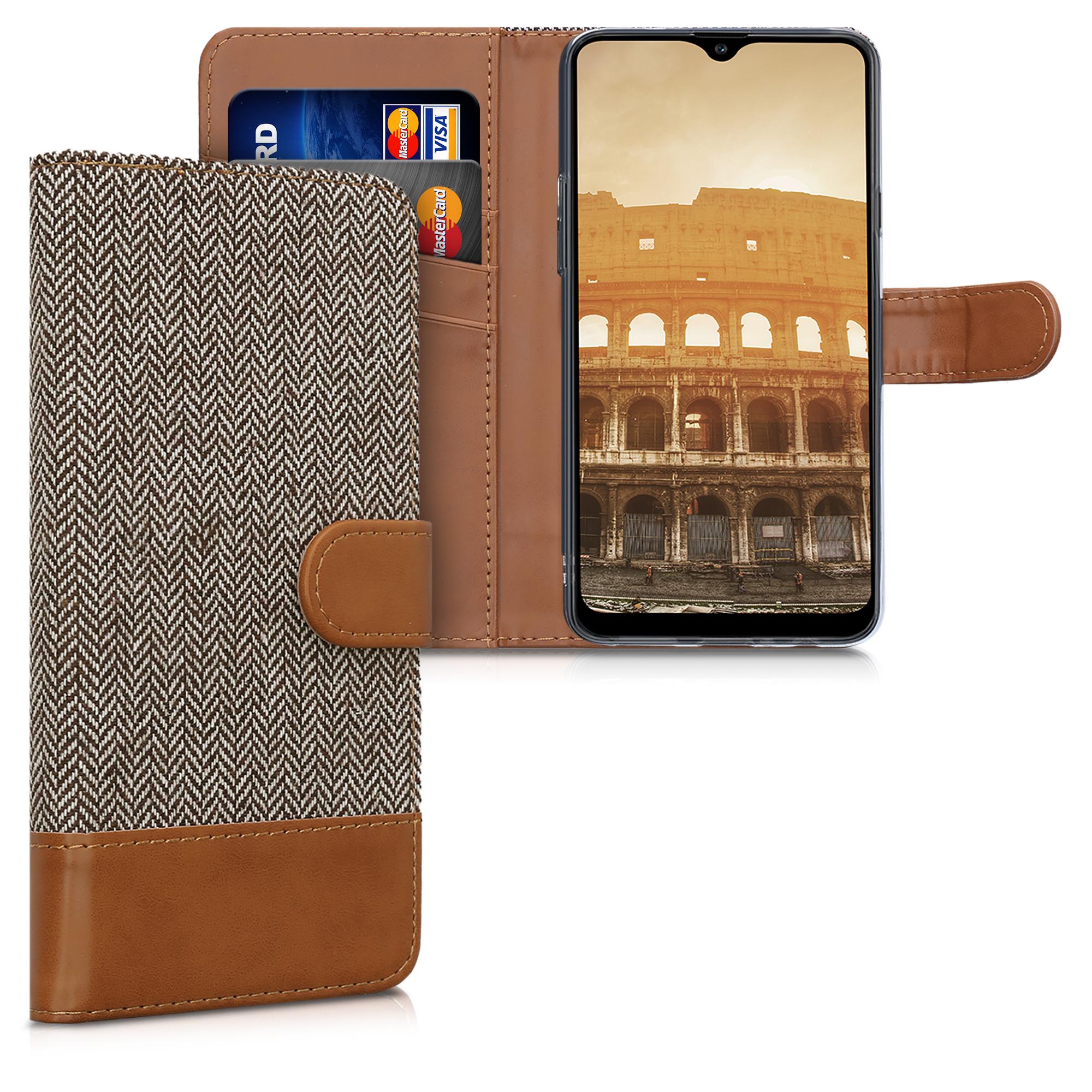 Fabricpouzdro pro Samsung A20s - světle  šedé / hnědá