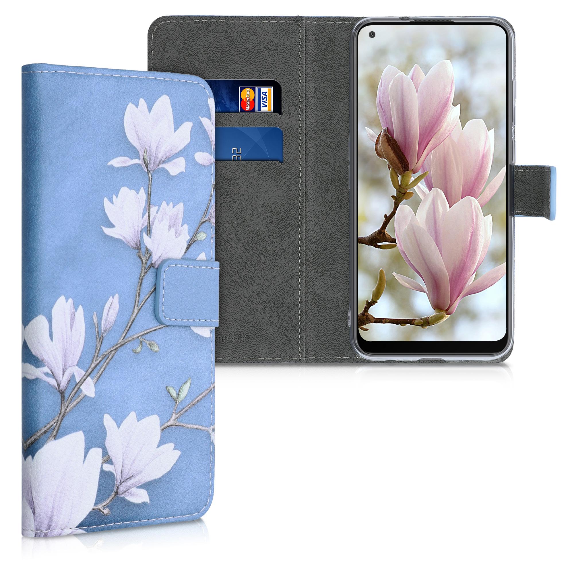 Kožené pouzdro pro Samsung M11 - Magnolie Taupe / bílá / modrá šedá