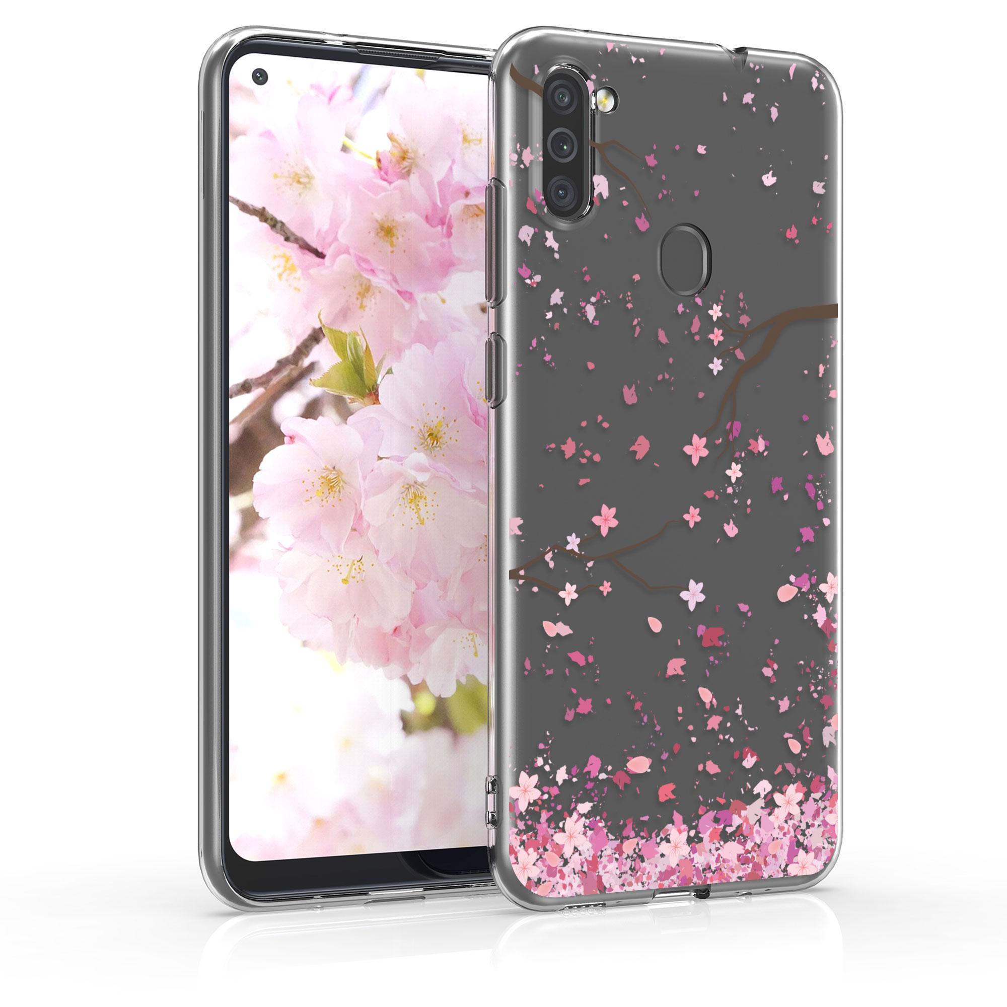 Kvalitní silikonové TPU pouzdro pro Samsung M11 - Cherry Blossoms růžové / tmavě hnědá / transparentní