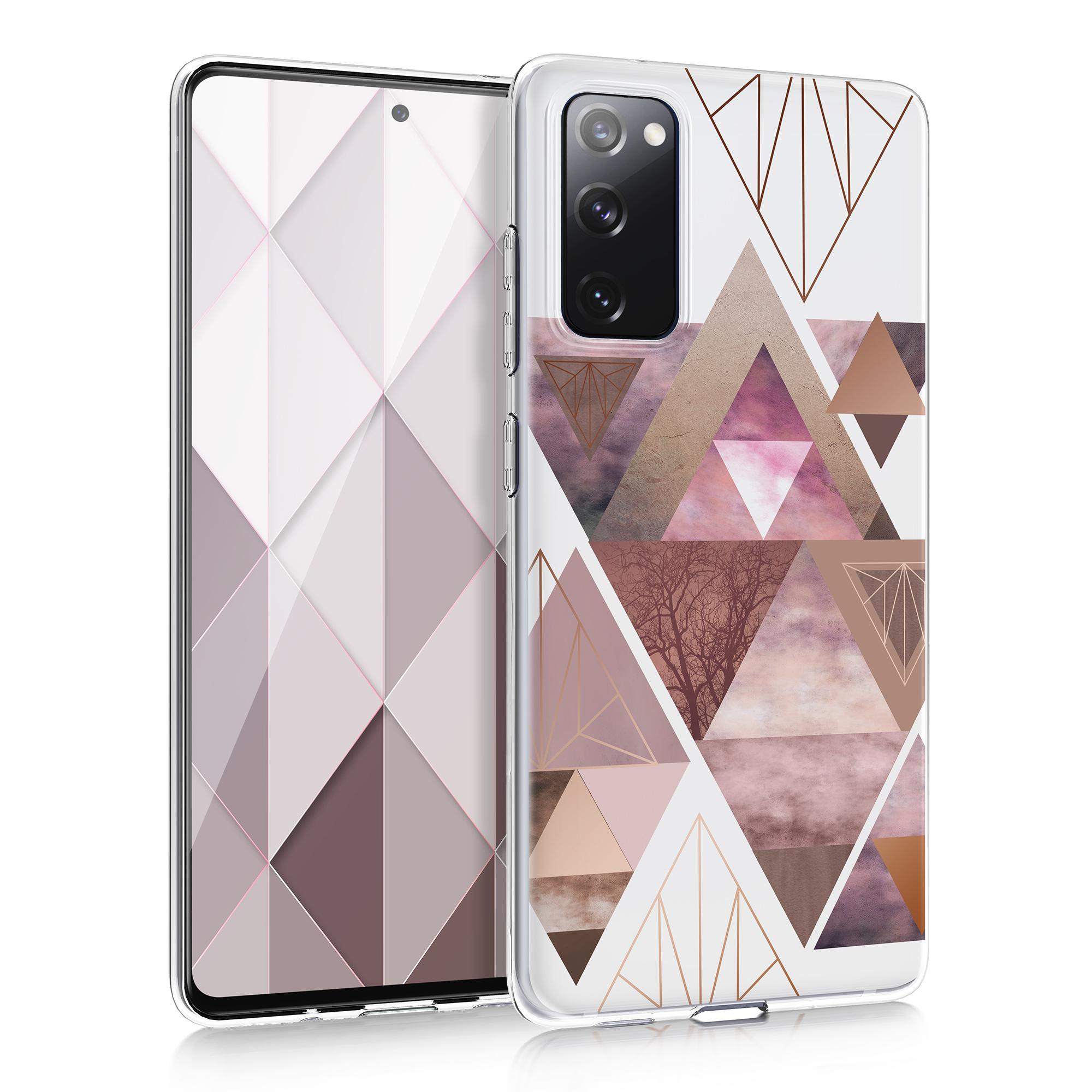 Růžové siikonové pouzdro / obal pro Samsung S20 FE s motivem trojúhelníků