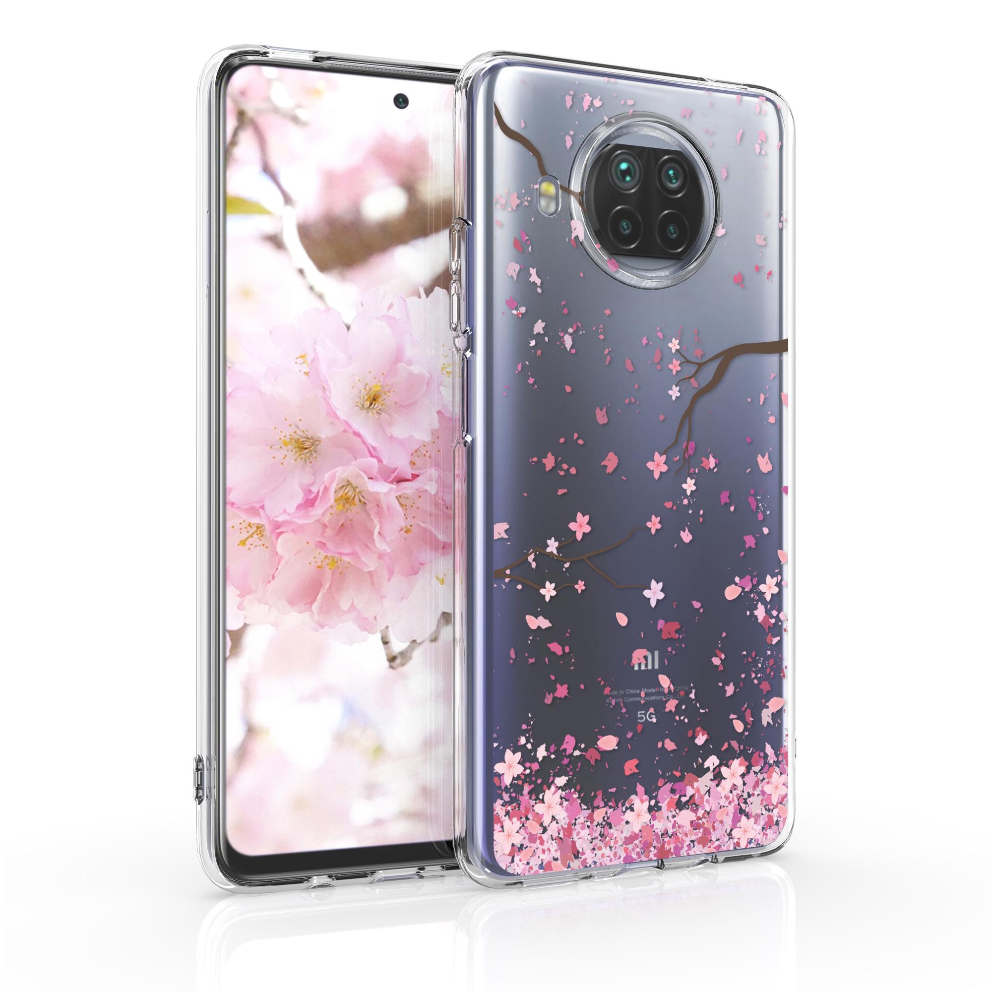 Růžové silikonové pouzdro / obal s motivem třešnových květů Xiaomi Mi 10T Lite