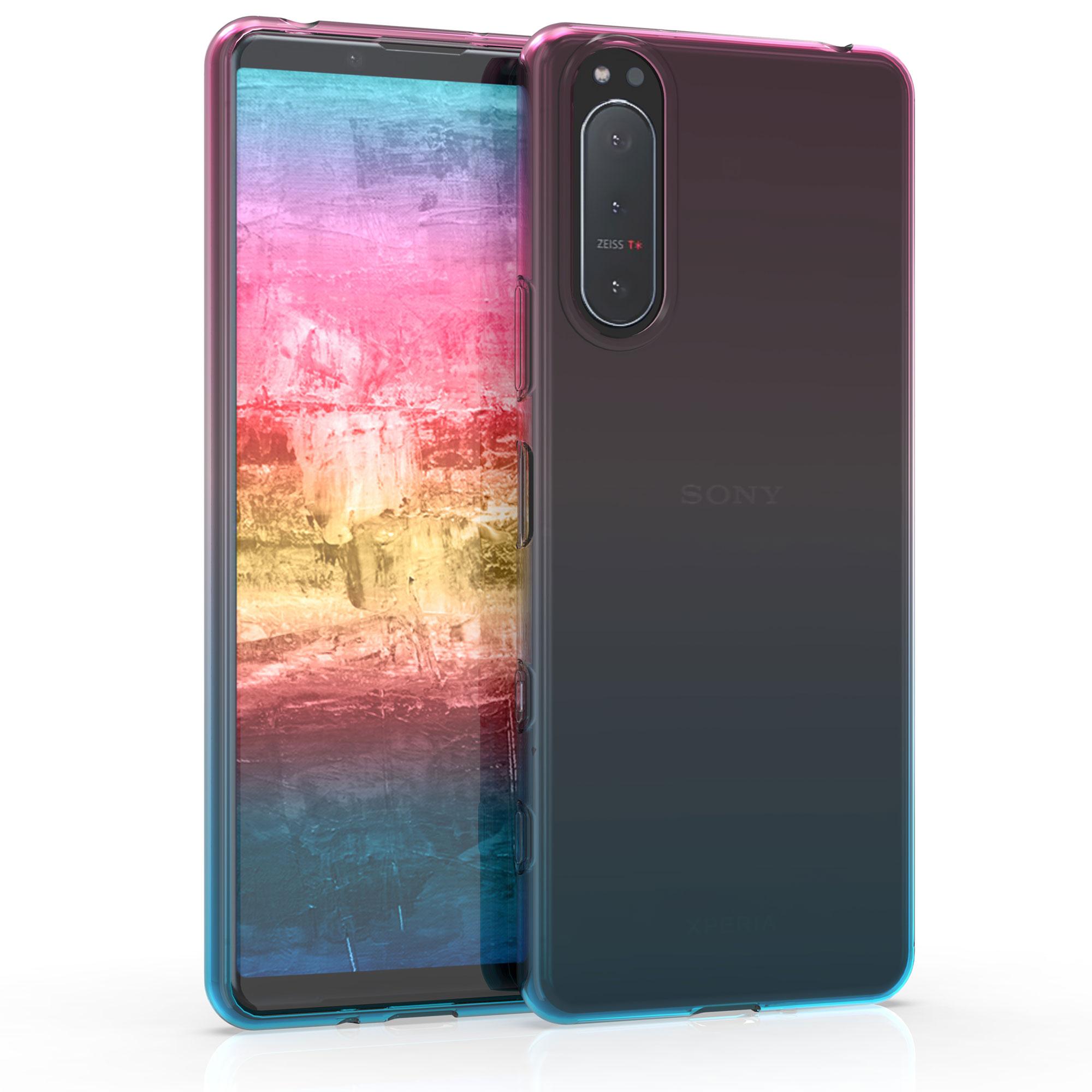 Kvalitní silikonové TPU pouzdro | obal pro Sony Xperia 5 II - Bicolor tmavě růžová / modré / průhledná