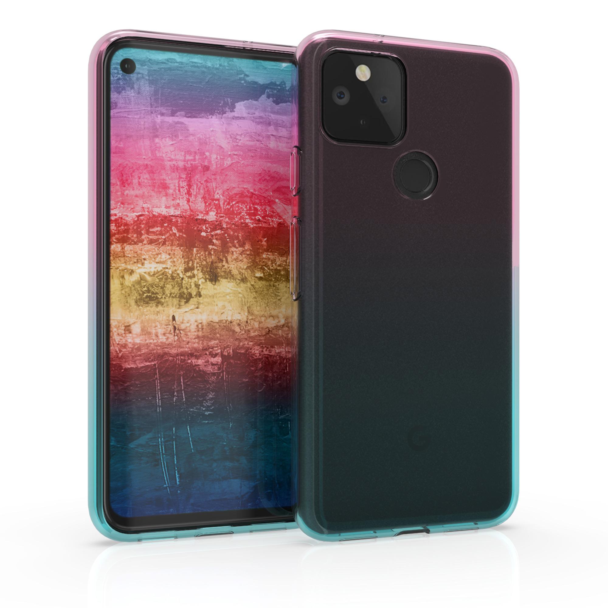 Kvalitní silikonové TPU pouzdro | obal pro Google Pixel 5 -  Dvoubarevný tmavě růžový / modrý / průhledný