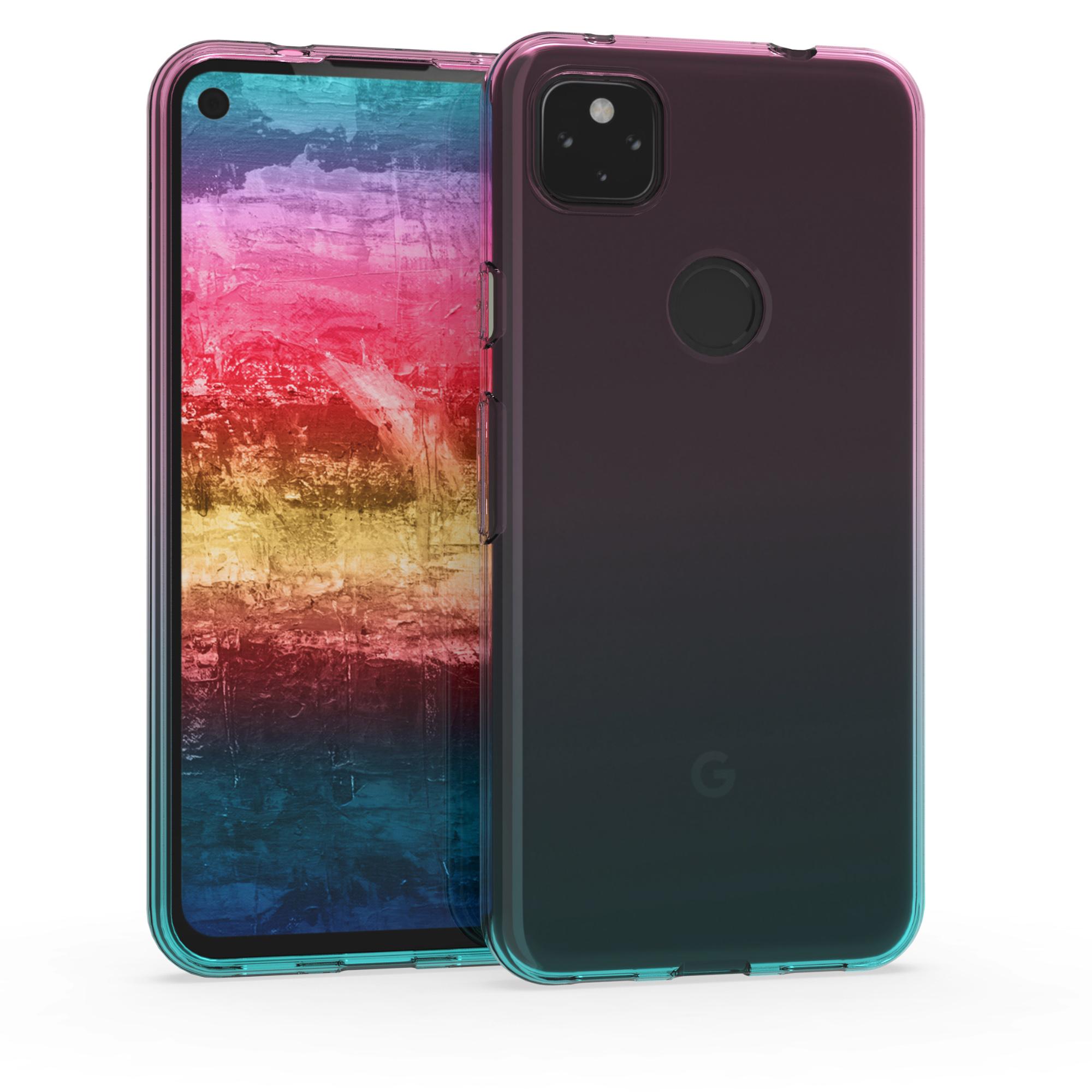 Kvalitní silikonové TPU pouzdro | obal pro Google Pixel 4a 5G - Dvoubarevný Tmavě růžová / Modrá / Transparentní