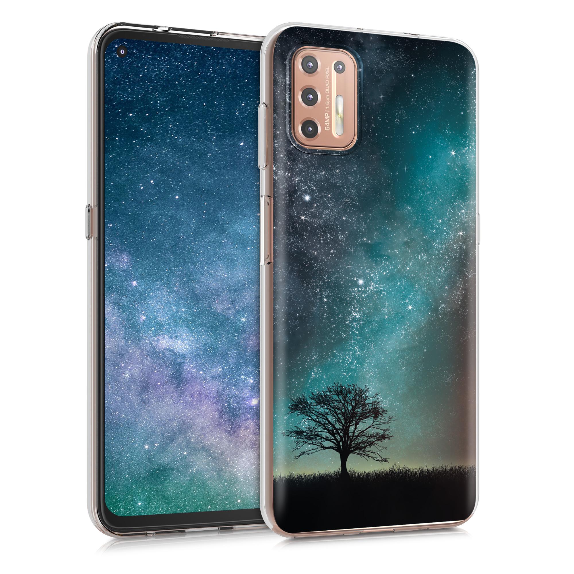 Kvalitní silikonové TPU pouzdro   obal pro Motorola Moto G9 Plus - Cosmic Nature Modrá / Šedá / Černá