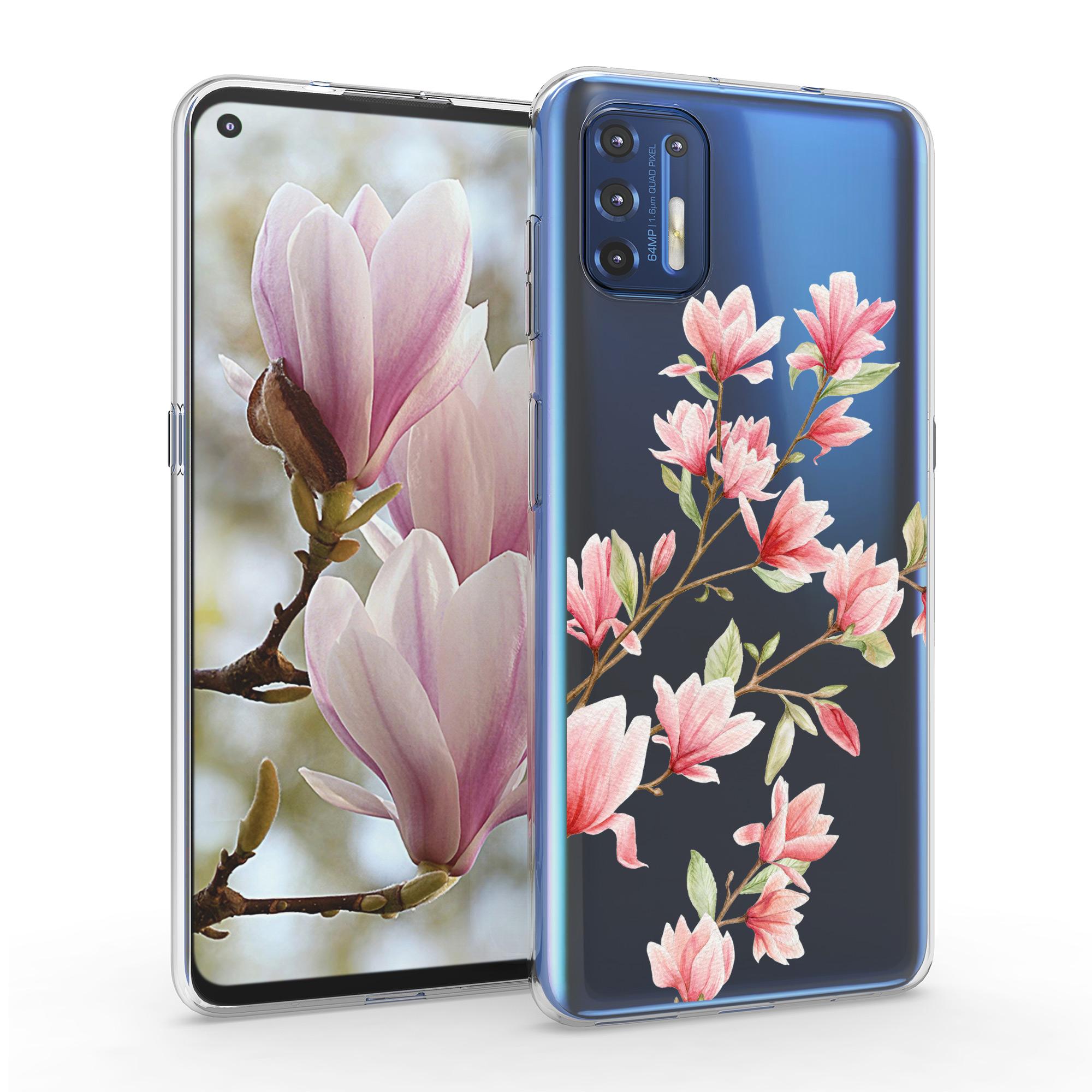 Kvalitní silikonové TPU pouzdro   obal pro Motorola Moto G9 Plus -  Magnolias růžová / bílá / průhledná