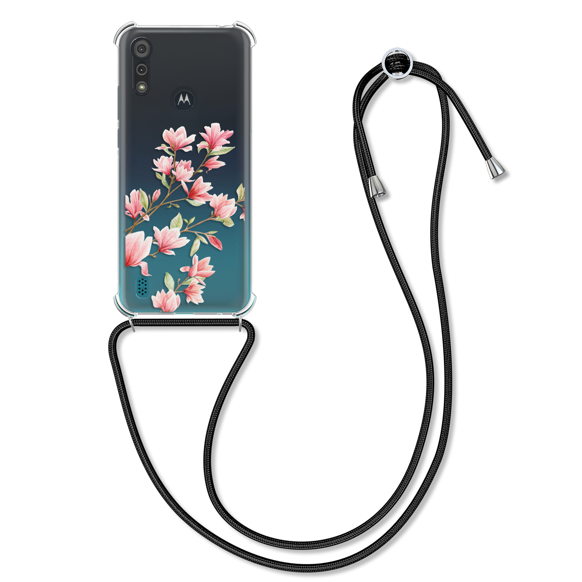 Kvalitní silikonové TPU pouzdro | obal pro Motorola Moto E6s -  Magnólie Růžová / Bílá / Průhledná